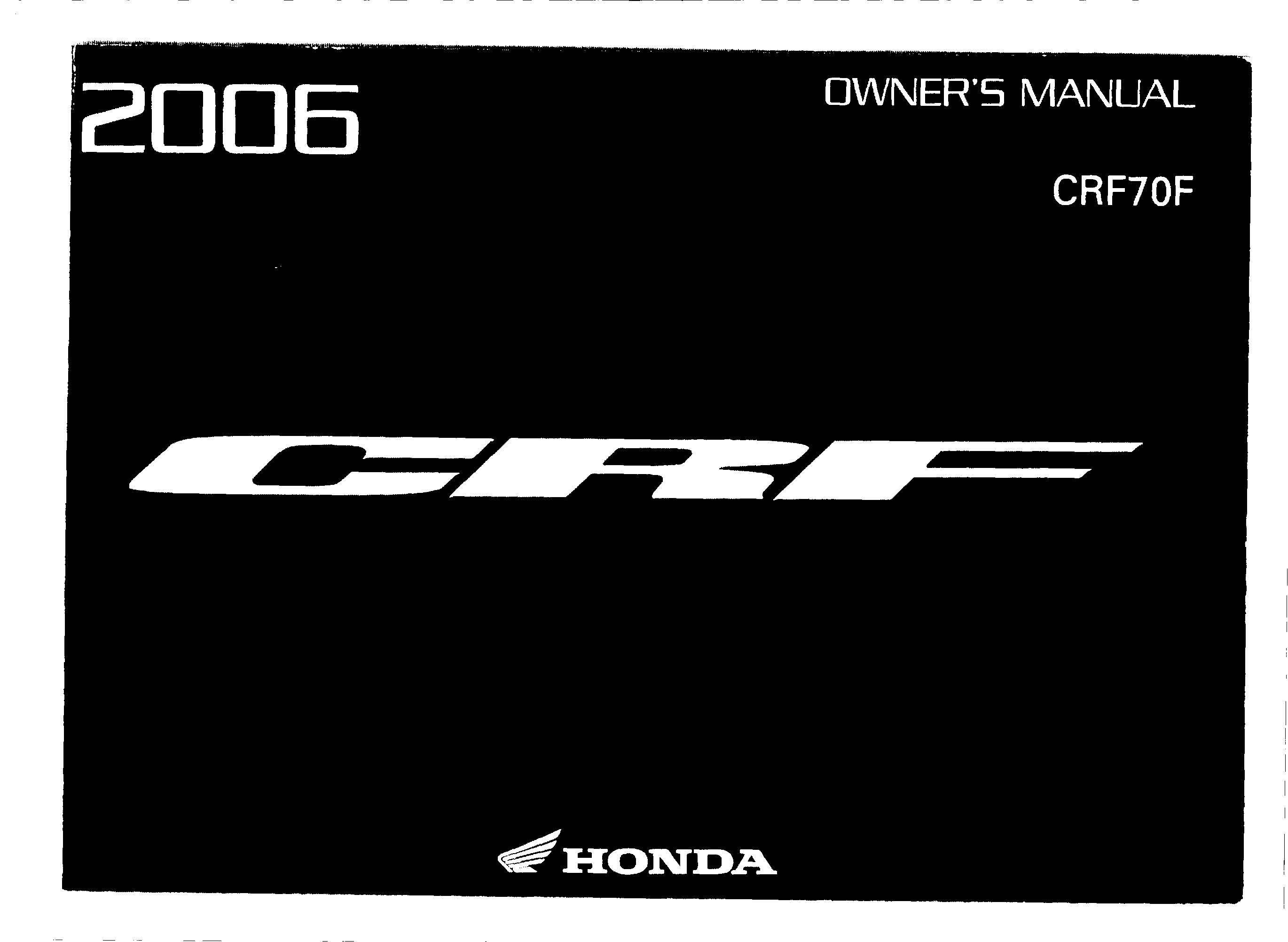 Owner's manual for Honda CRF70F (2006)