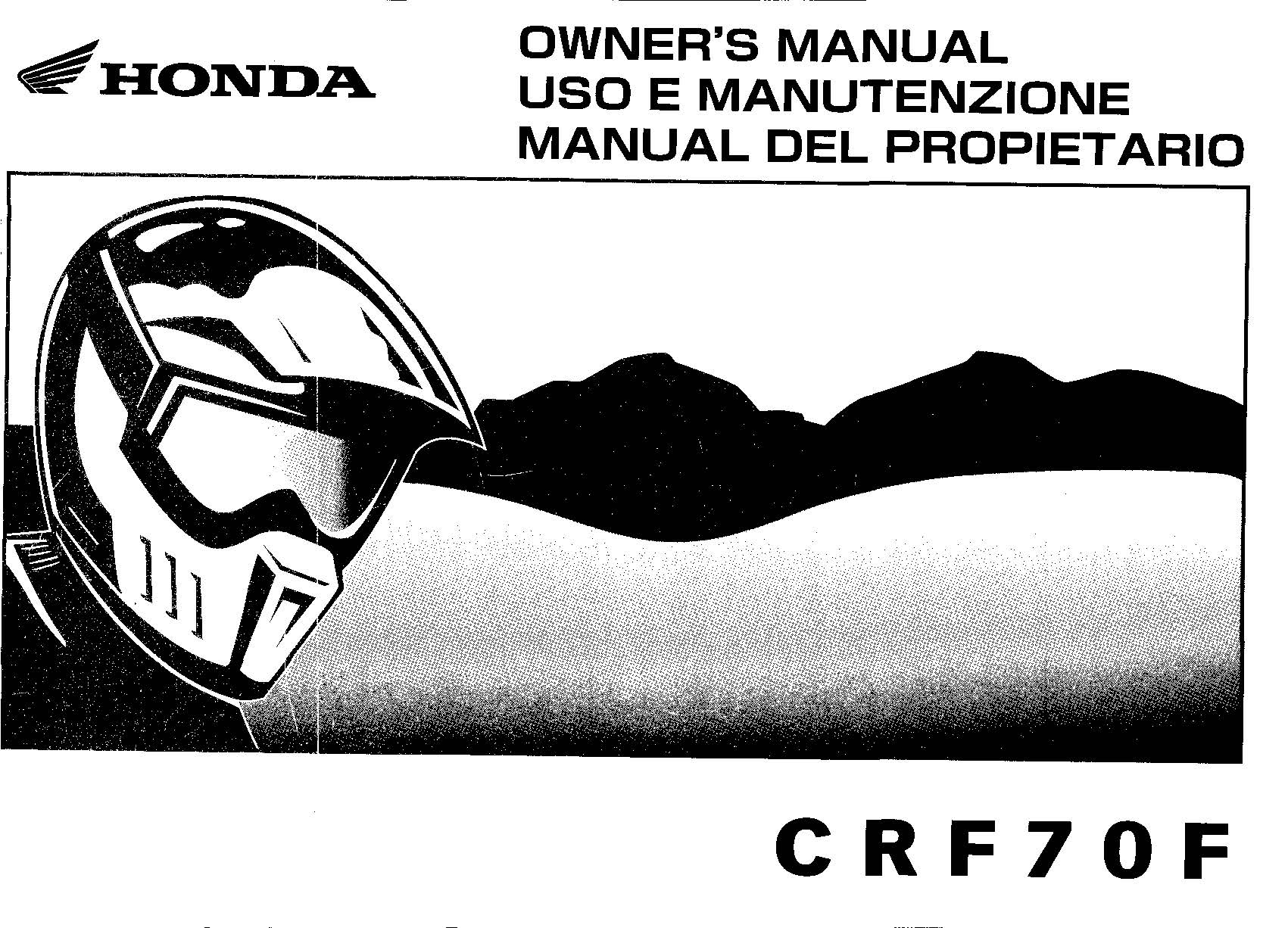 Owner's manual for Honda CRF70F (2007) multi