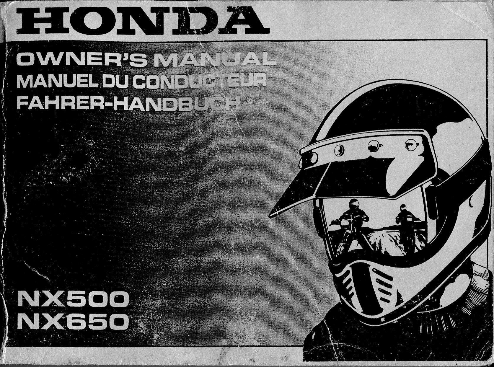 Honda NX500 (1993) Owner's Manual