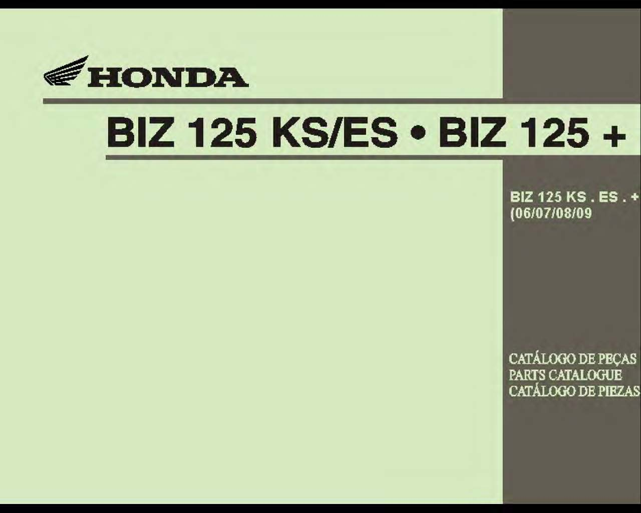 Parts list for Honda BIZ125ES (2006-2009) (Multilingual)