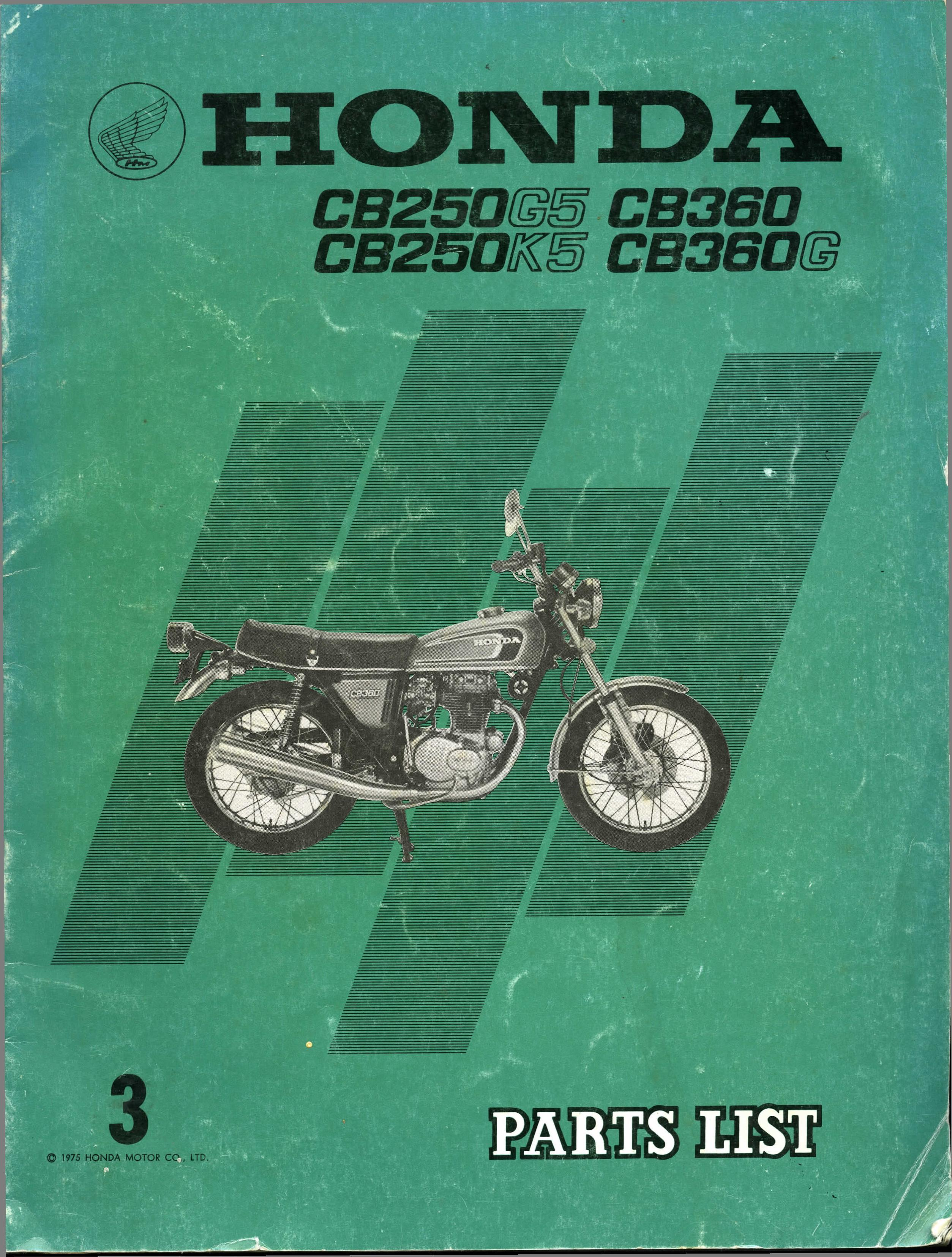 Parts List for Honda CB360 (1974) 3rd Edition