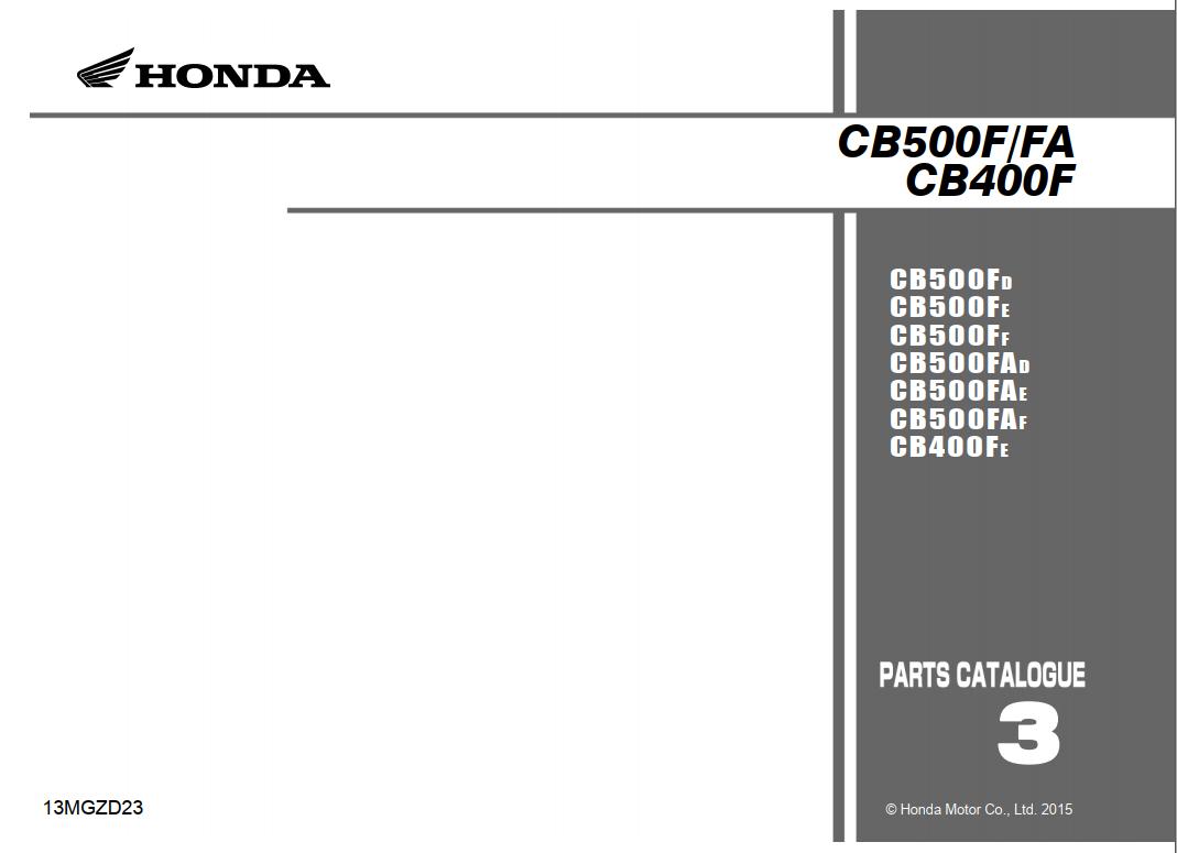 Parts list for Honda CB500FA (2015)