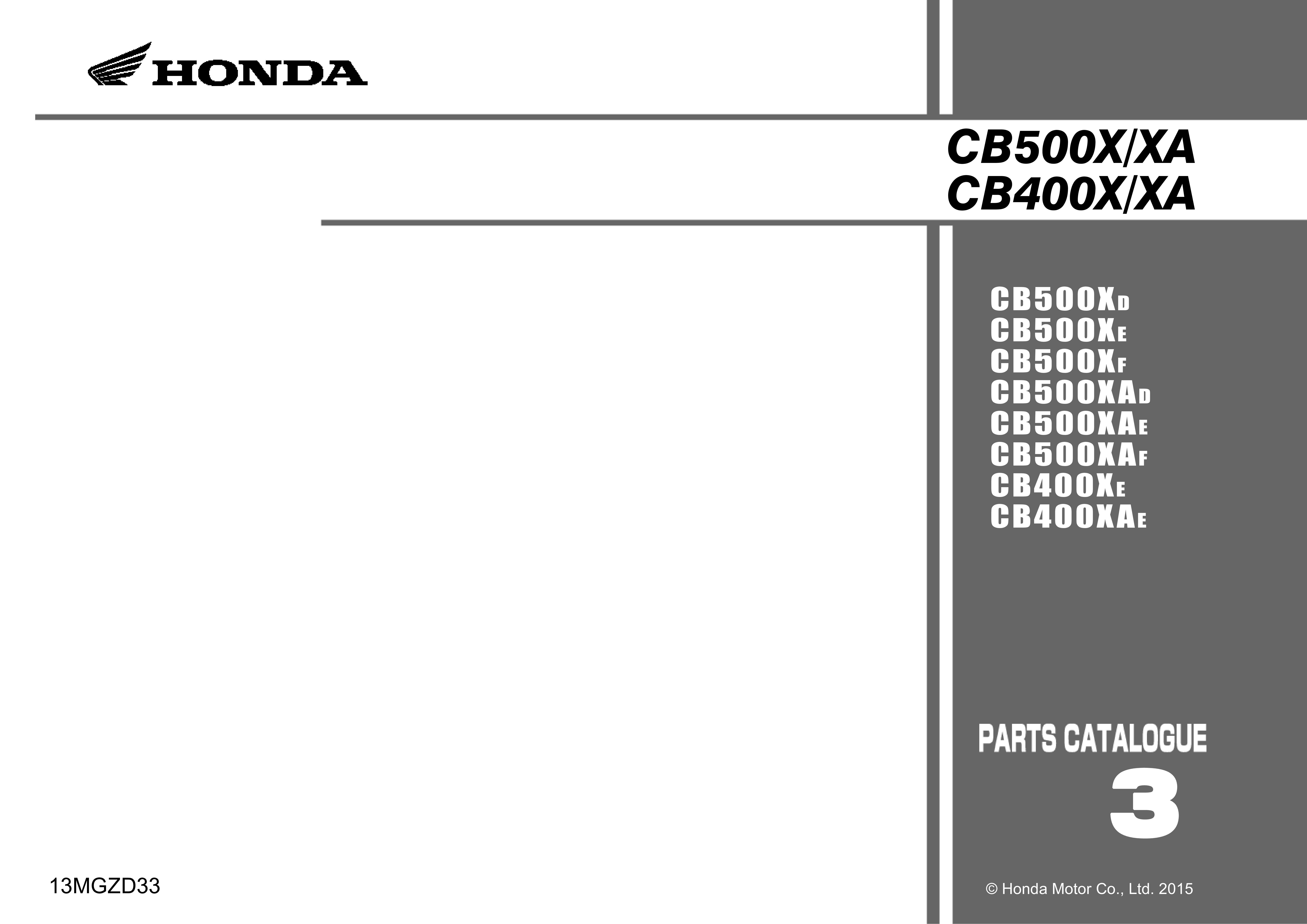 Parts List for Honda CB500XA (2015)