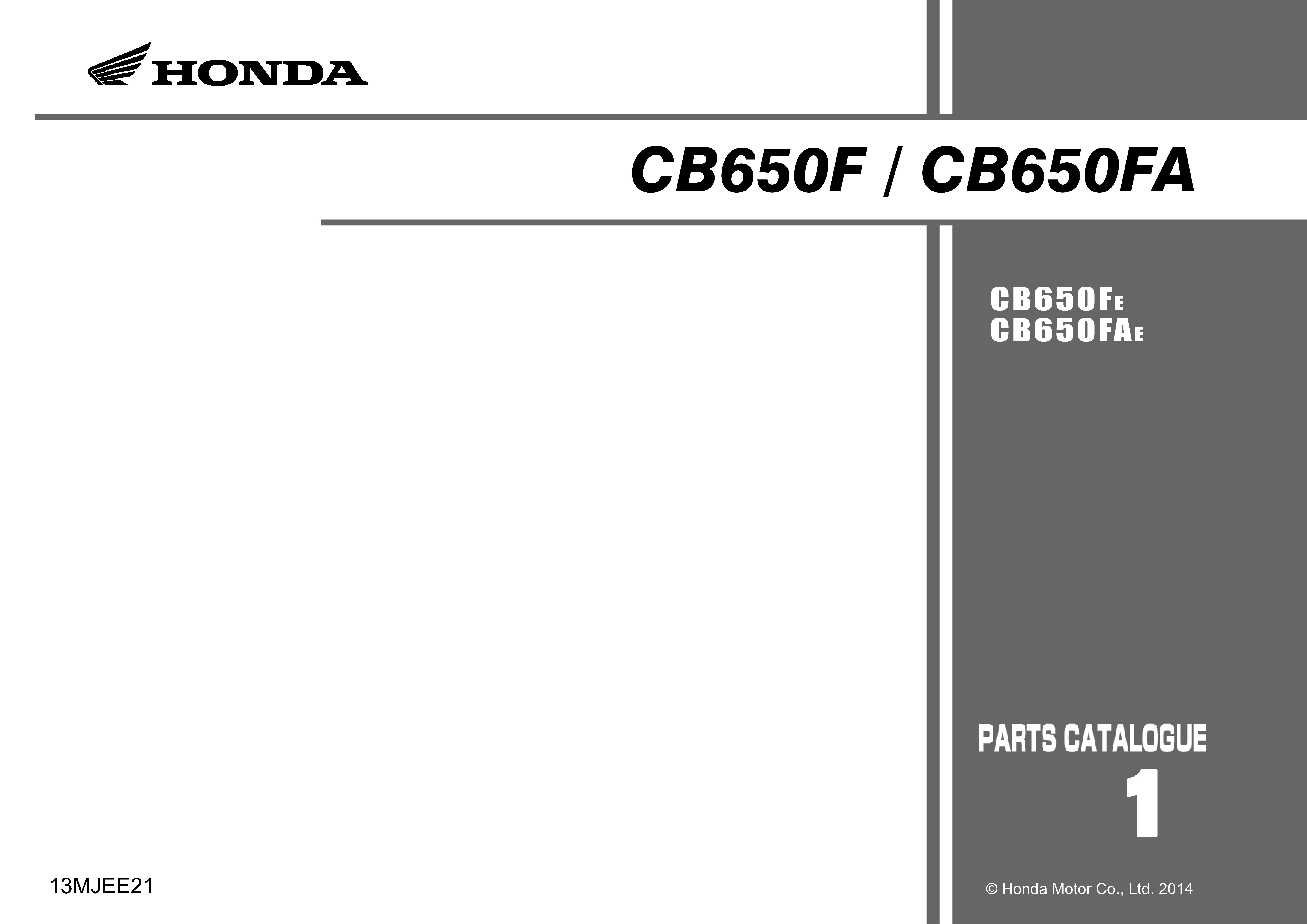 Parts List for Honda CB650F (2014)
