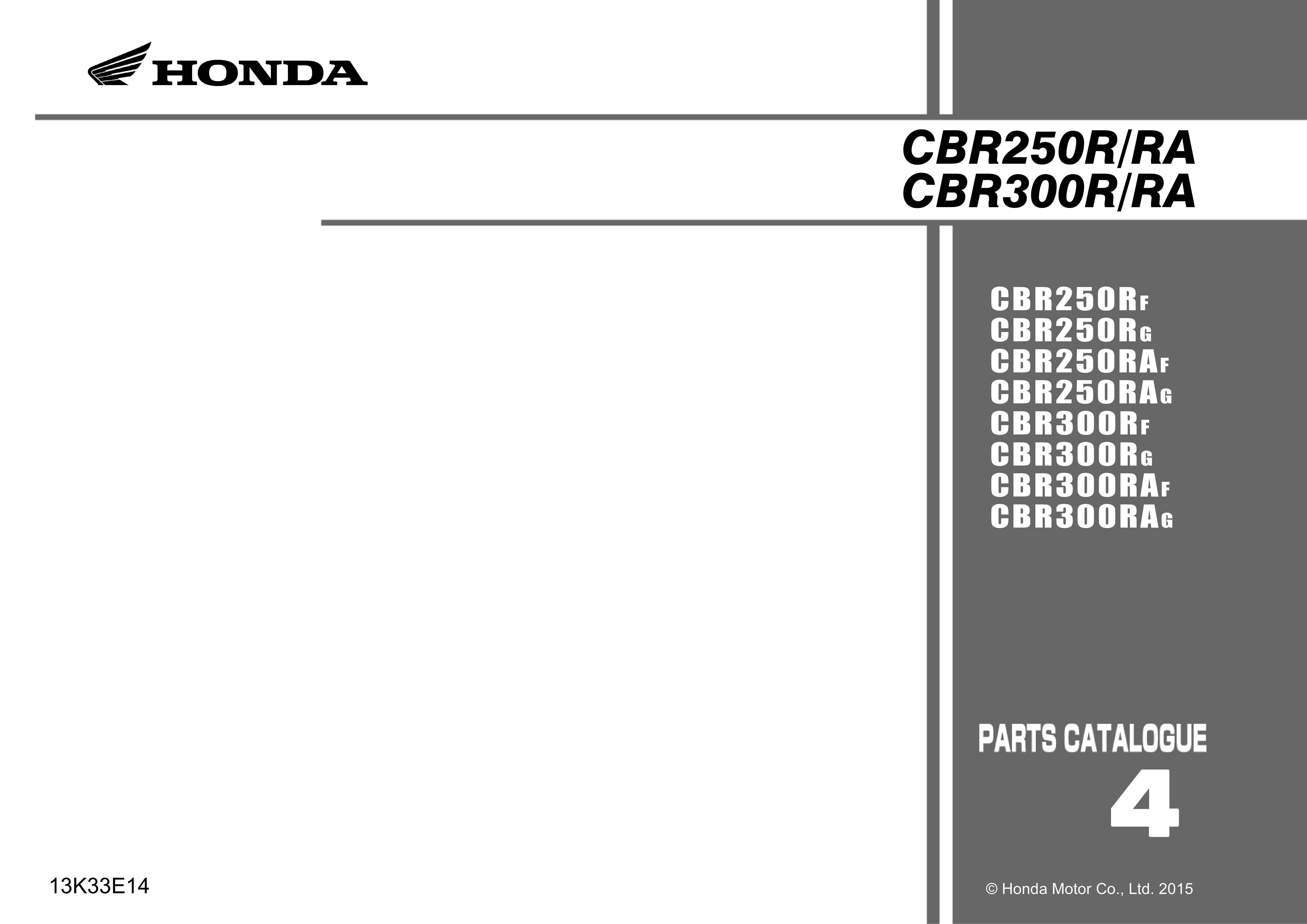 Parts List for Honda CBR250R (2015)