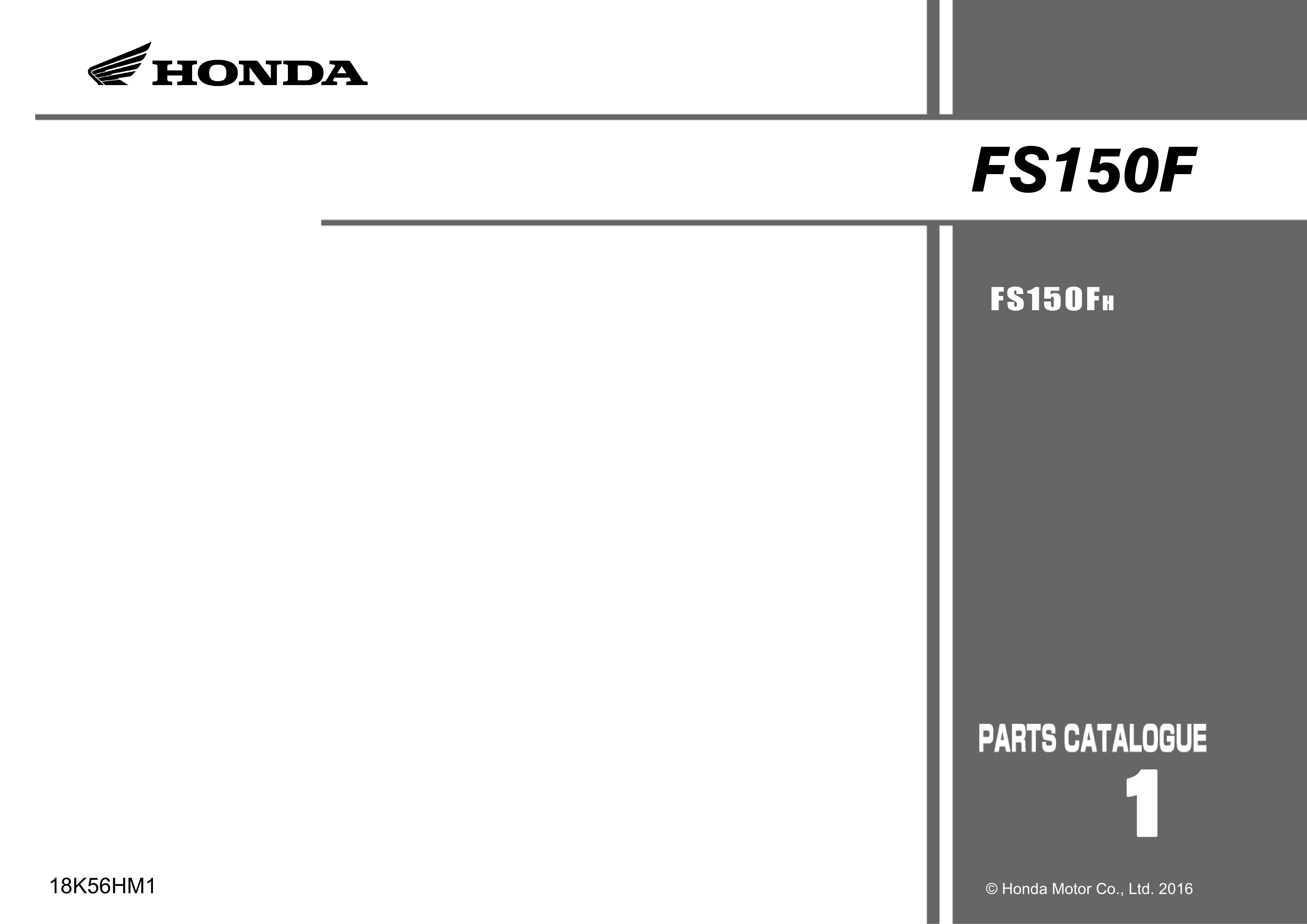Parts List for Honda FS150F (2016)