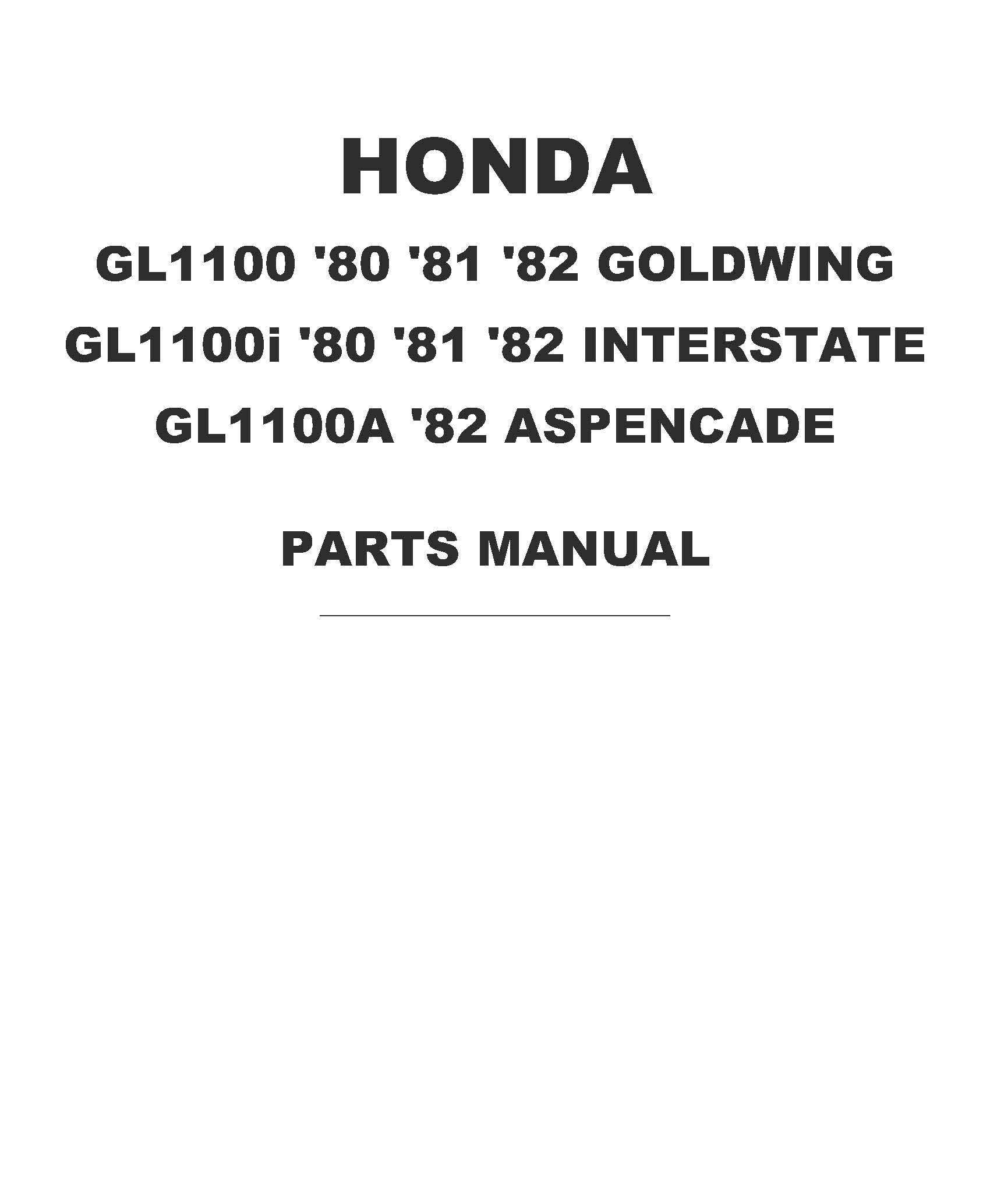 Parts list for Honda GL1100A Aspencade (1982)