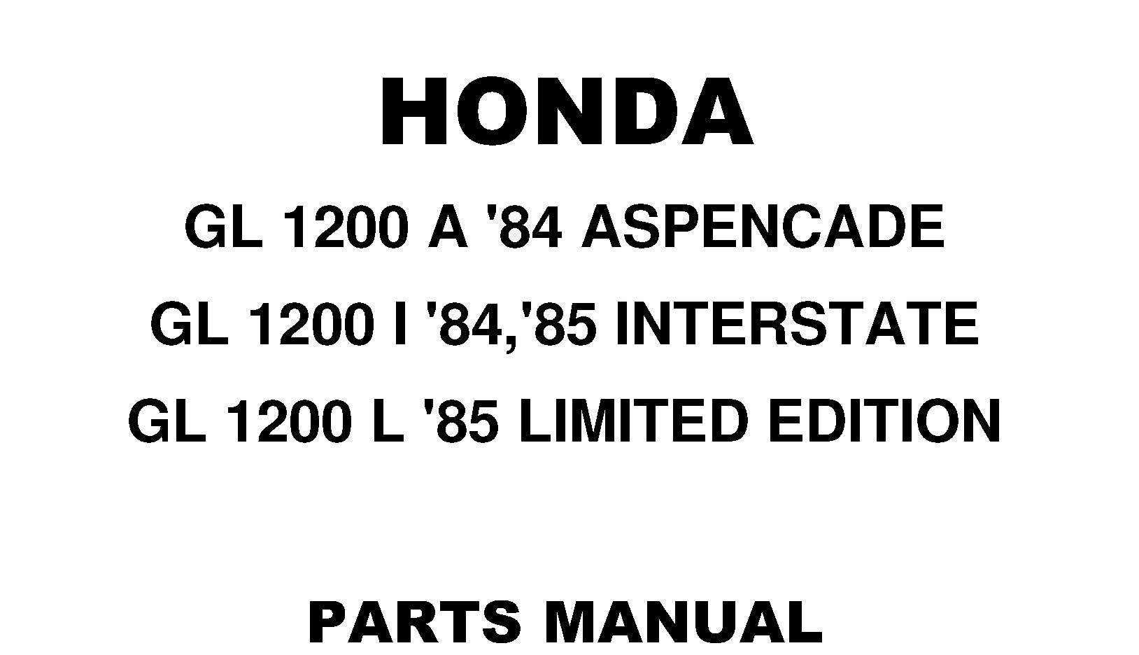 Parts list for Honda GL1200 (1984-1985)
