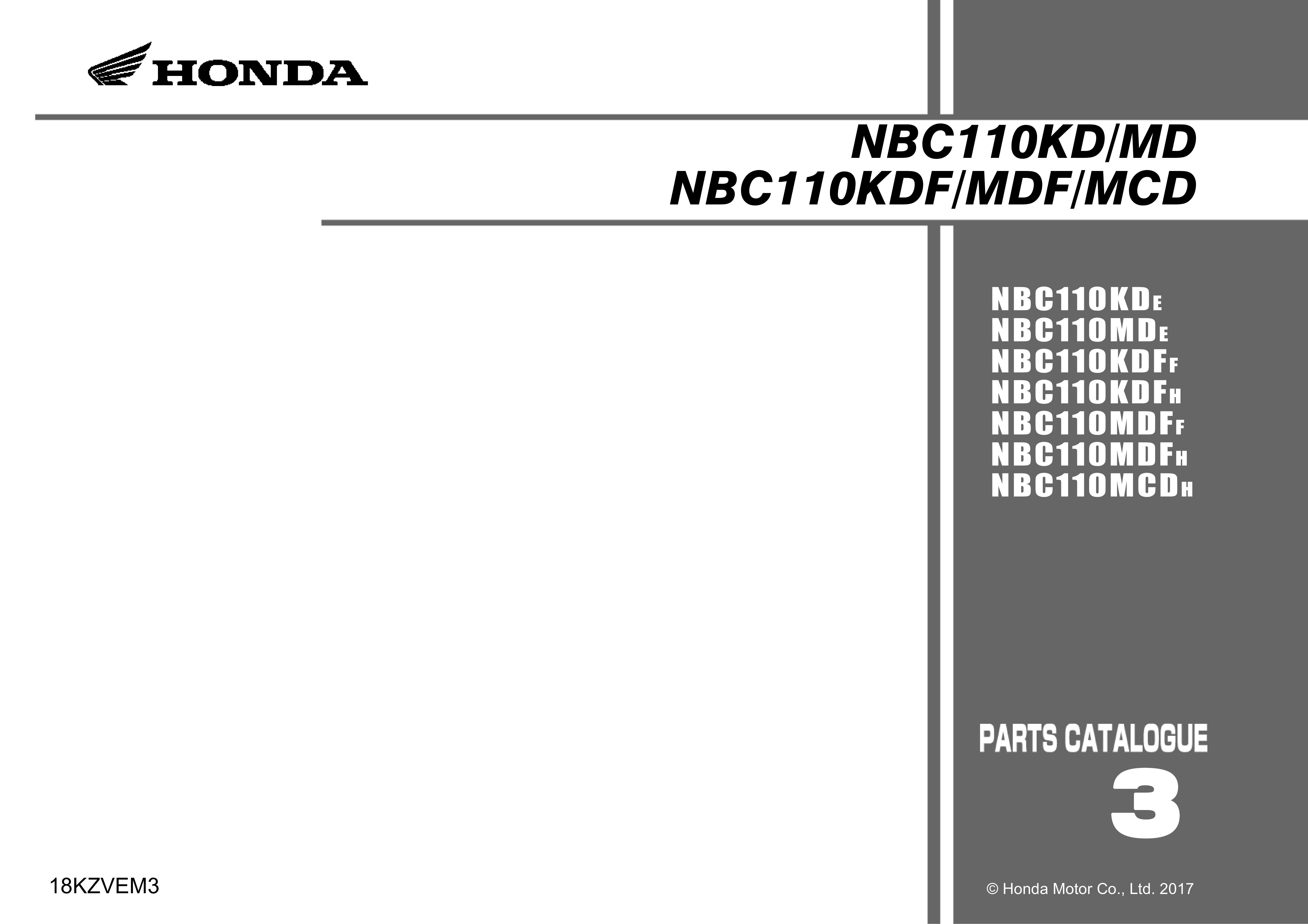 Parts List for Honda NBC110KD Dream 110 (2017)