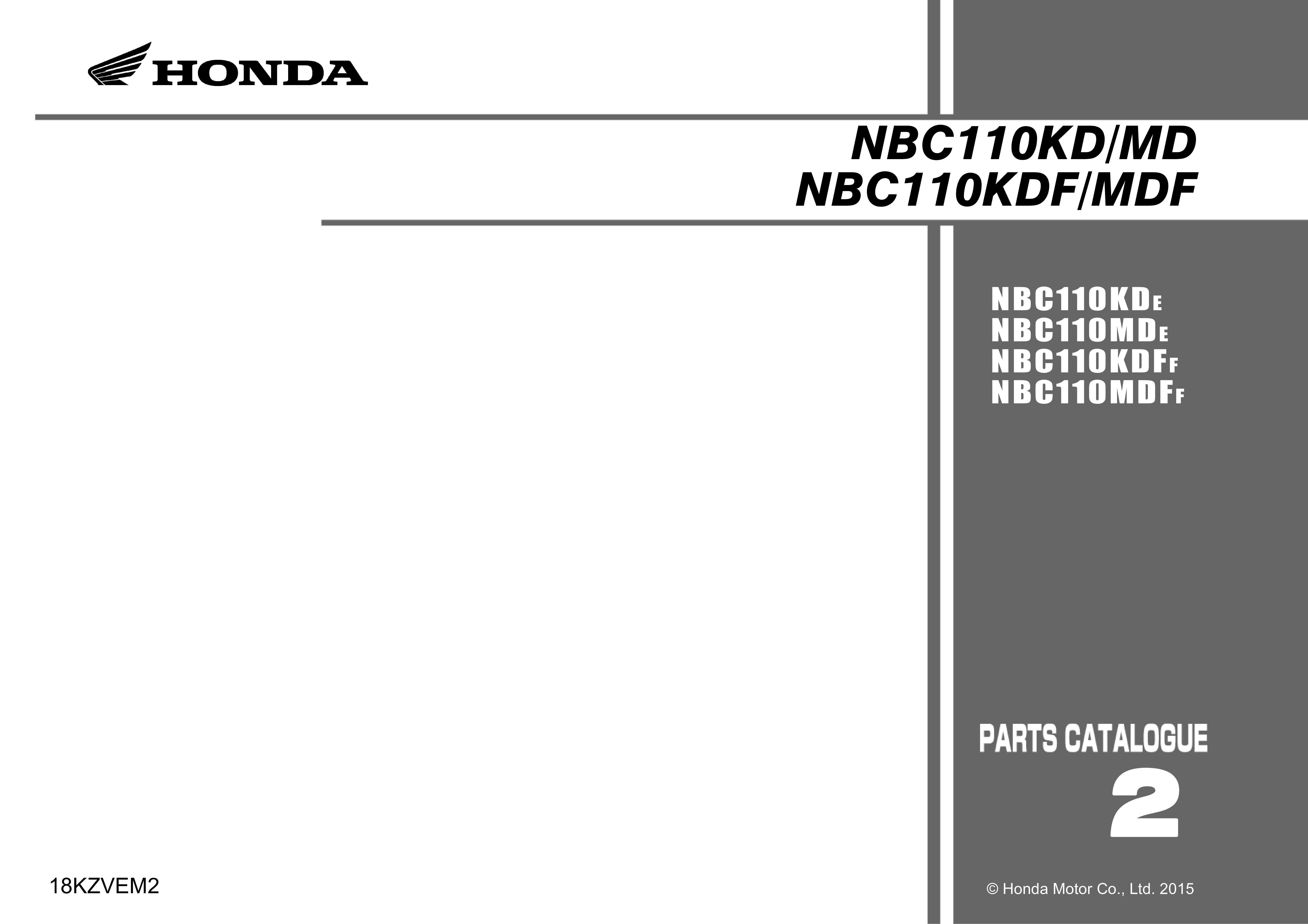 Parts List for Honda NBC110KDF Dream 110 (2015)
