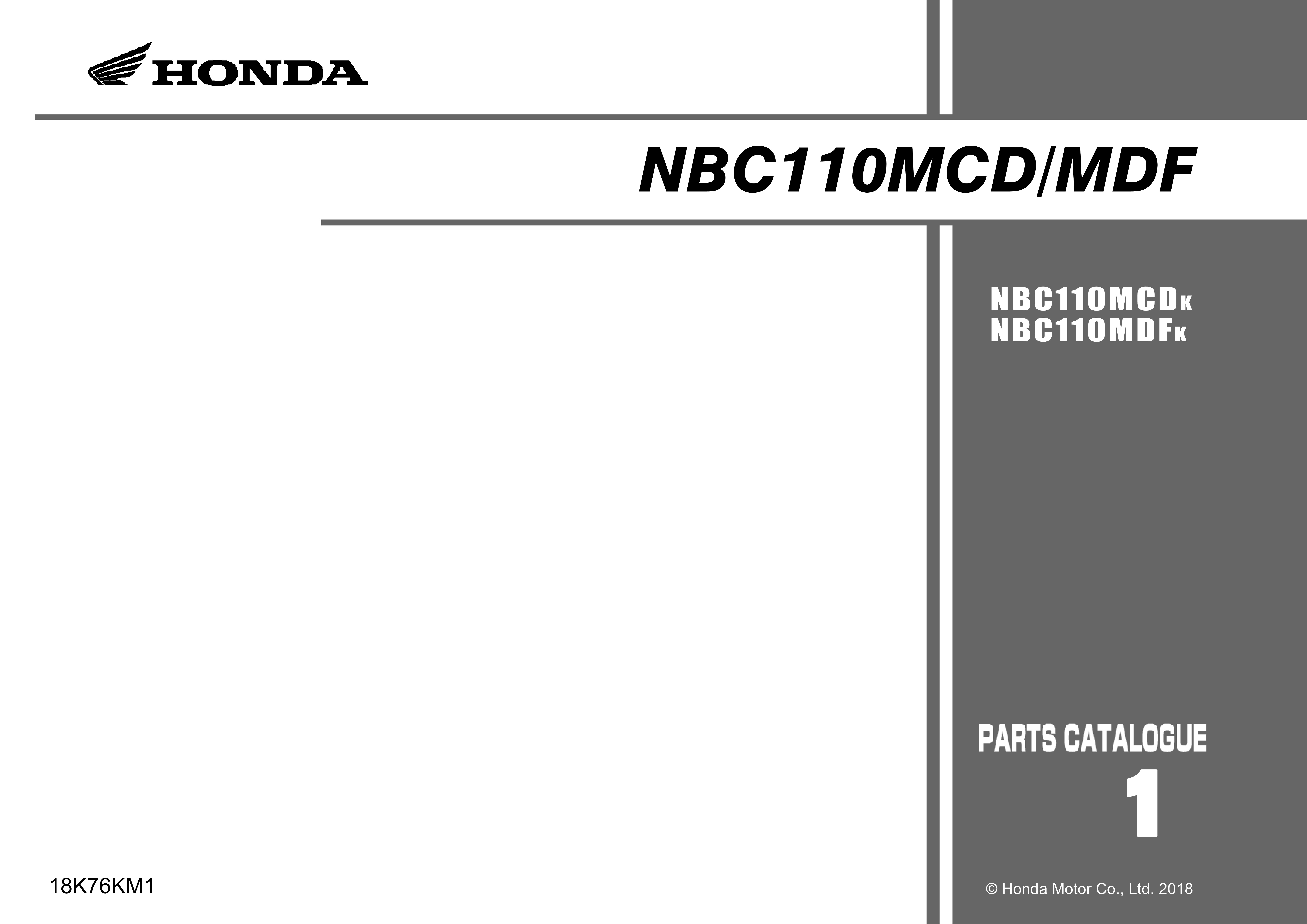 Parts List for Honda NBC110MCD (2018)