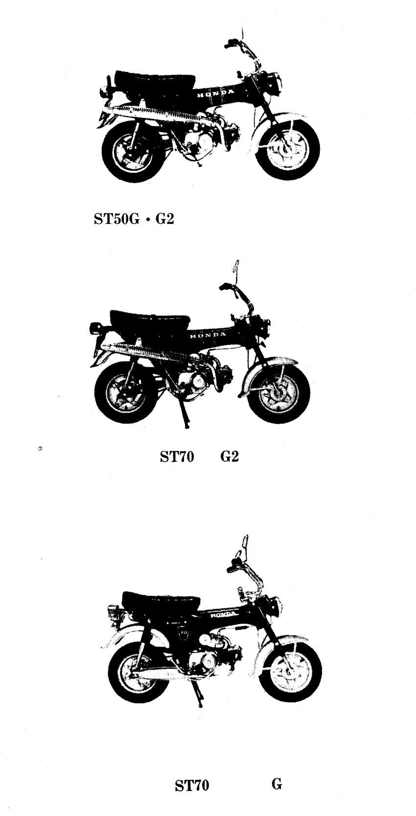 Parts list for Honda ST50G and ST70G