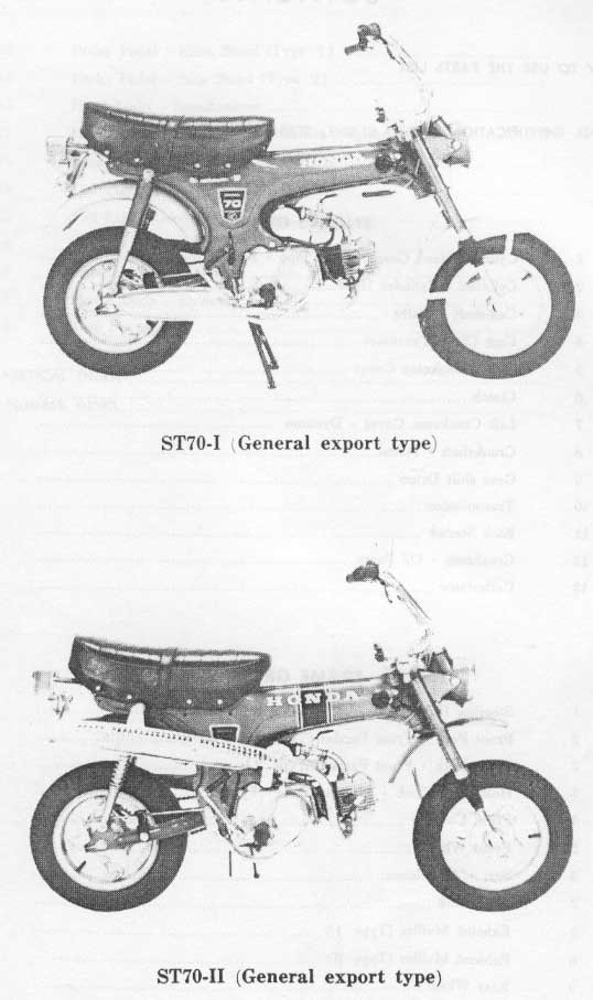 Parts list for Honda ST50-I and ST70-II