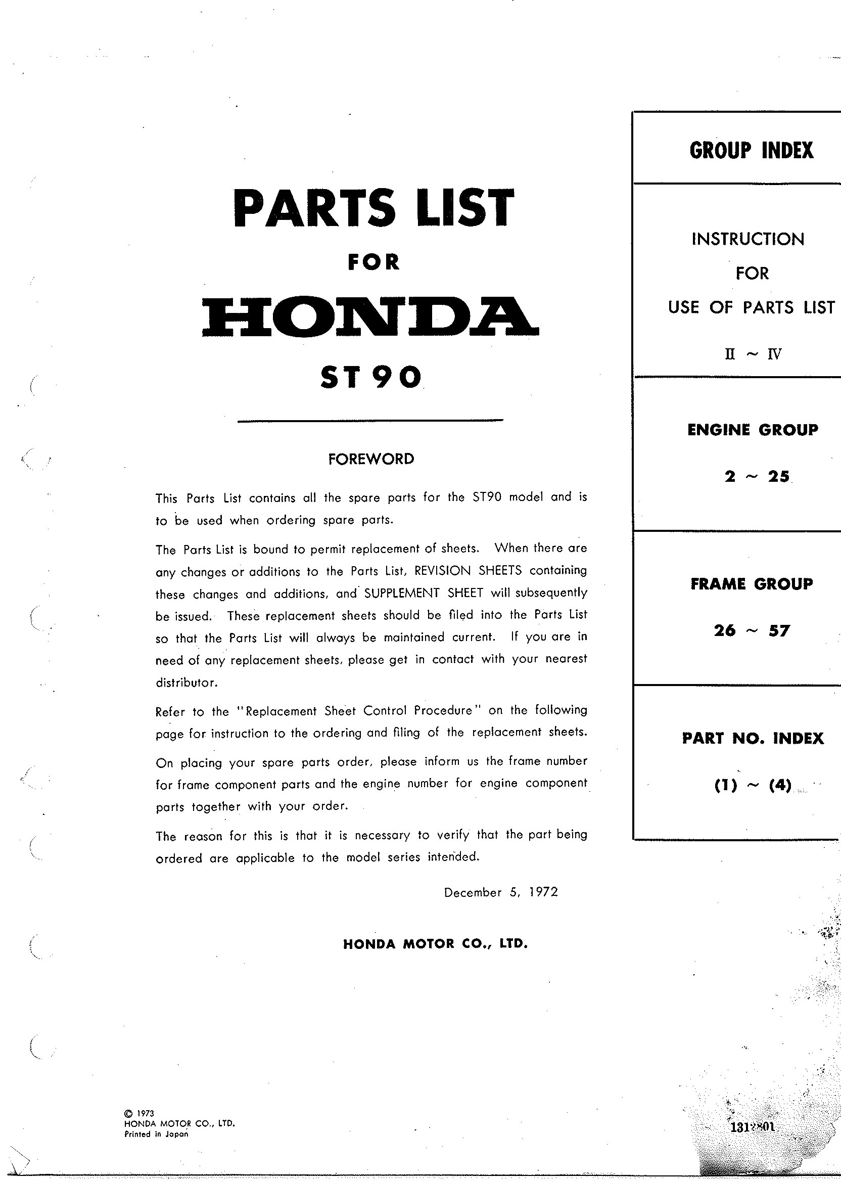 Parts List for Honda ST70G (1973)