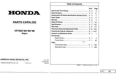 Partslist for Honda VF700C Magna (1984-1986)