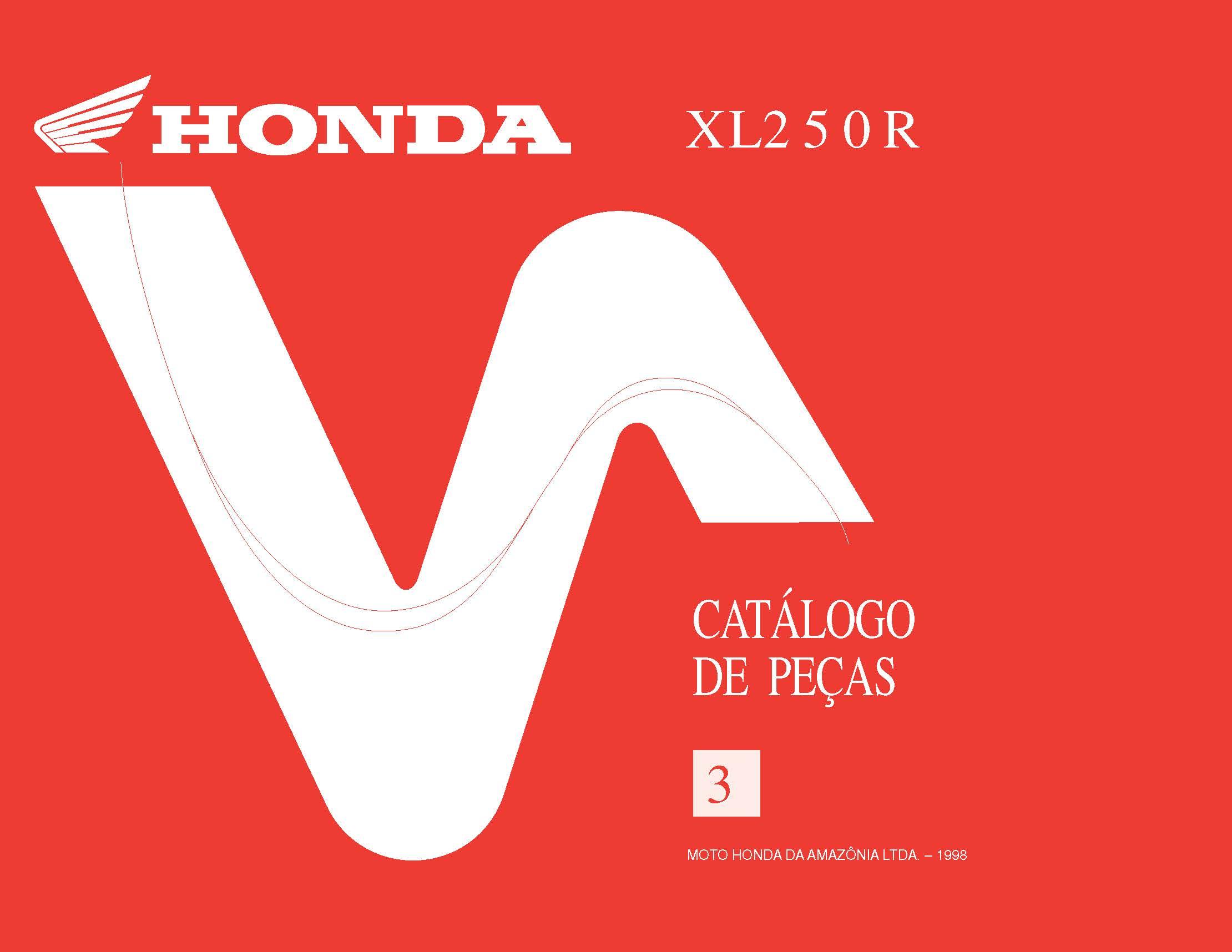 Parts List for Honda XL250R (1998) (Portugese)