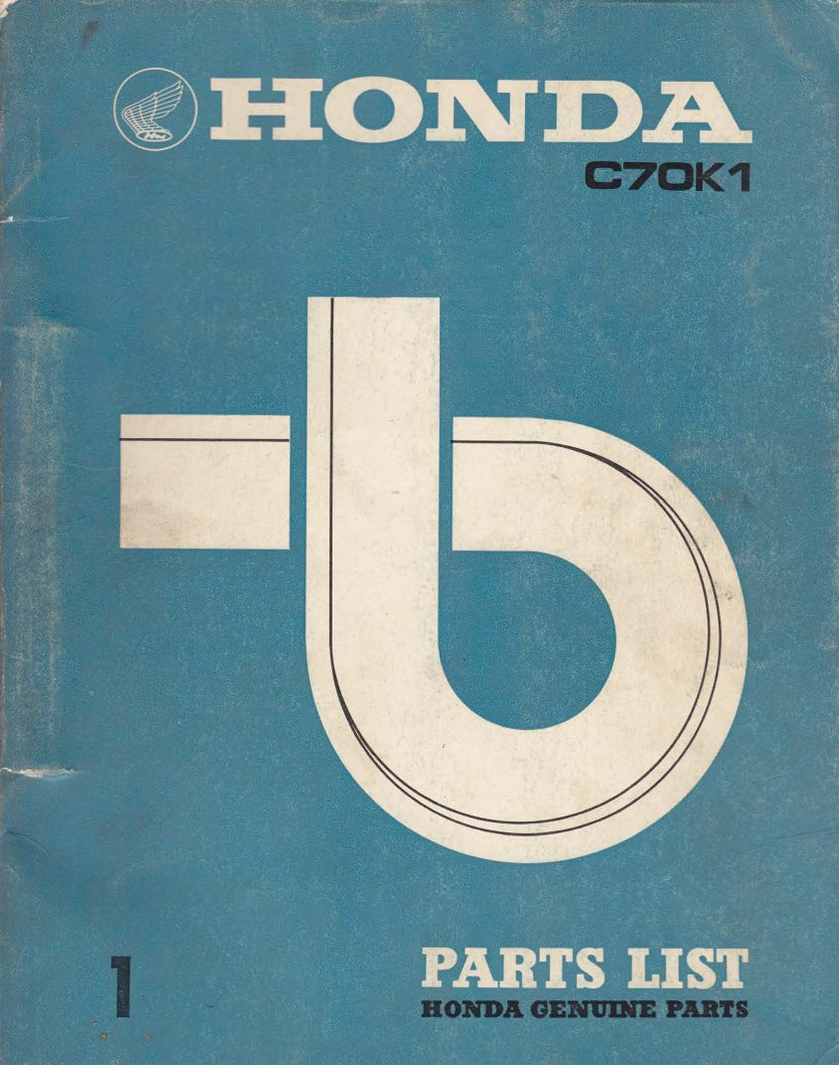 Parts list for Honda C70K1 (1971)