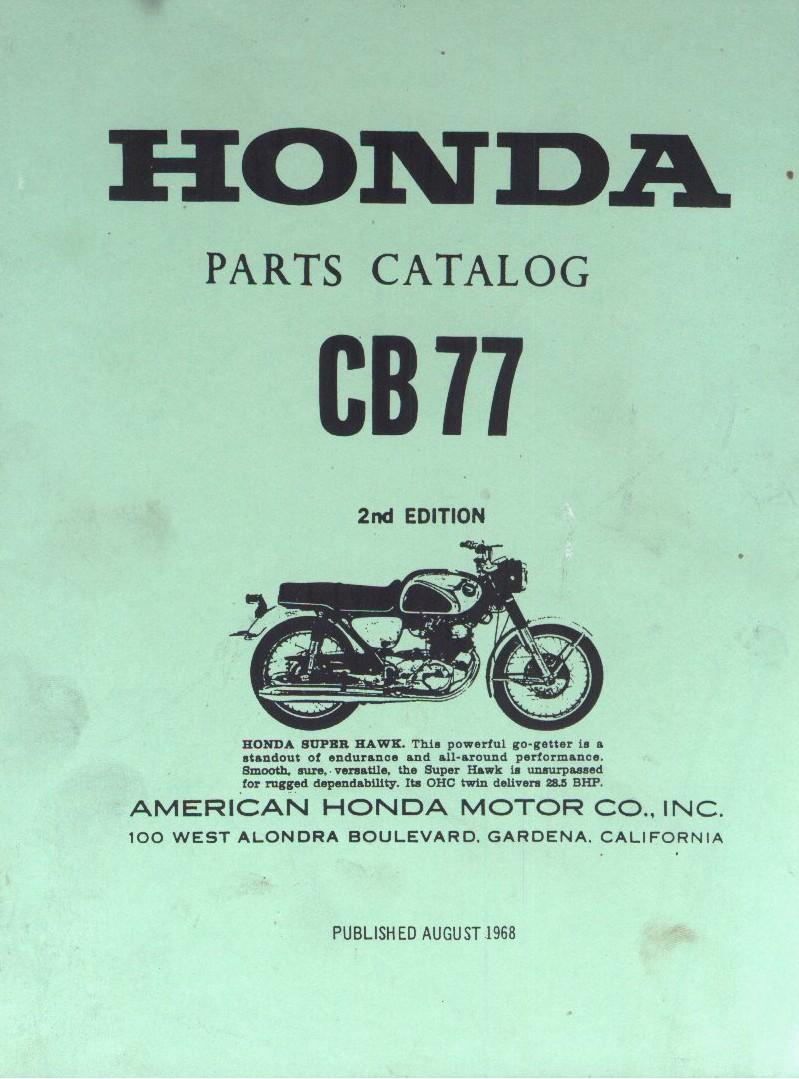 Partslist for Honda CB77 (1968) 2nd Edition