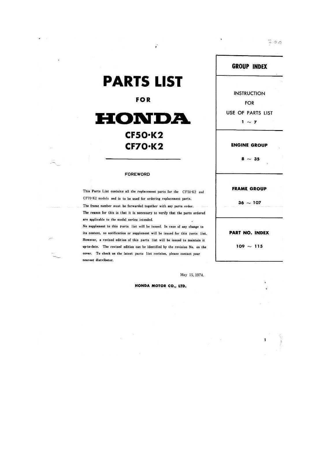 Parts list for Honda CF50 (1974)