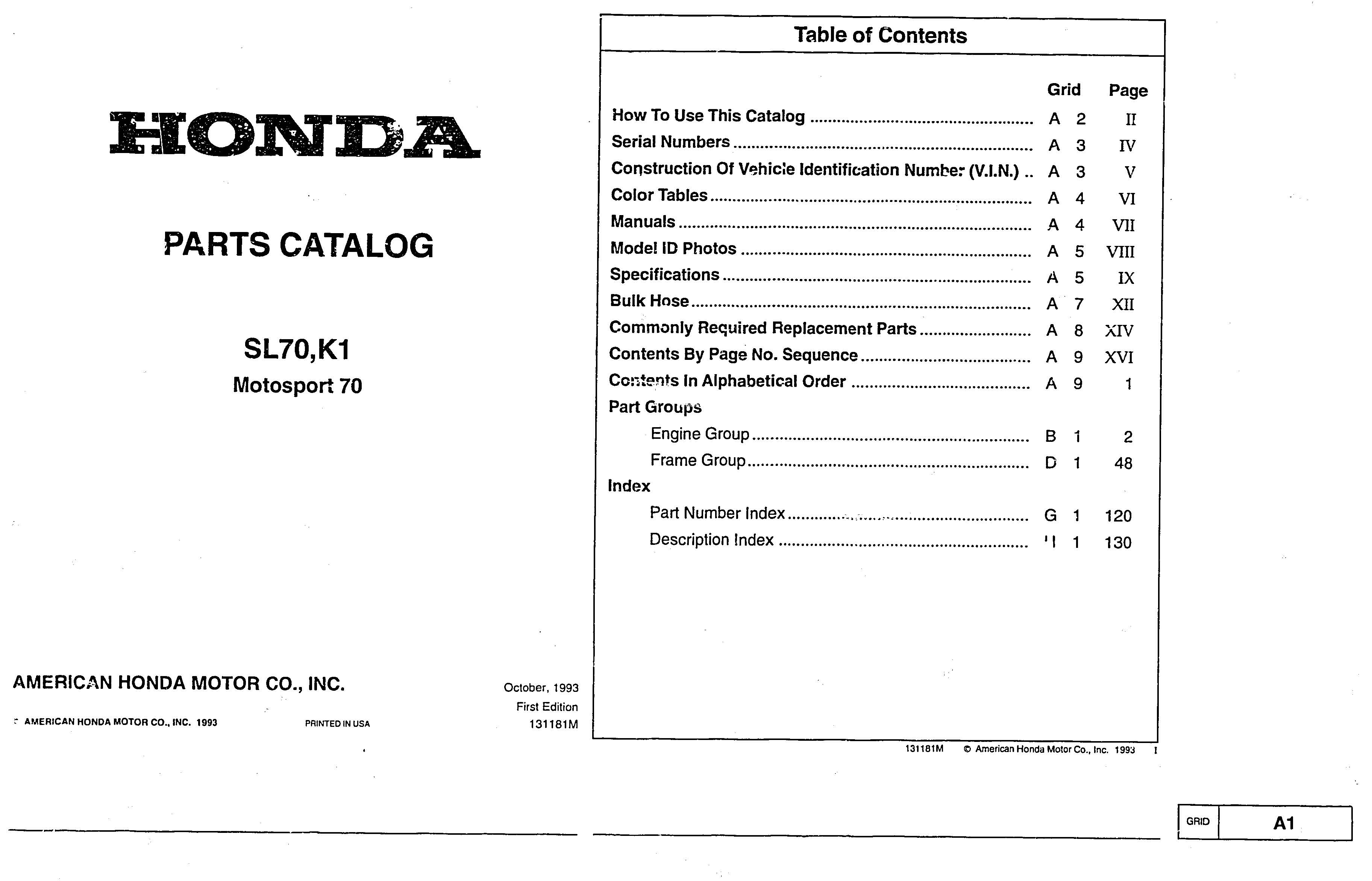 Parts list for Honda SL70 K1 (1993)