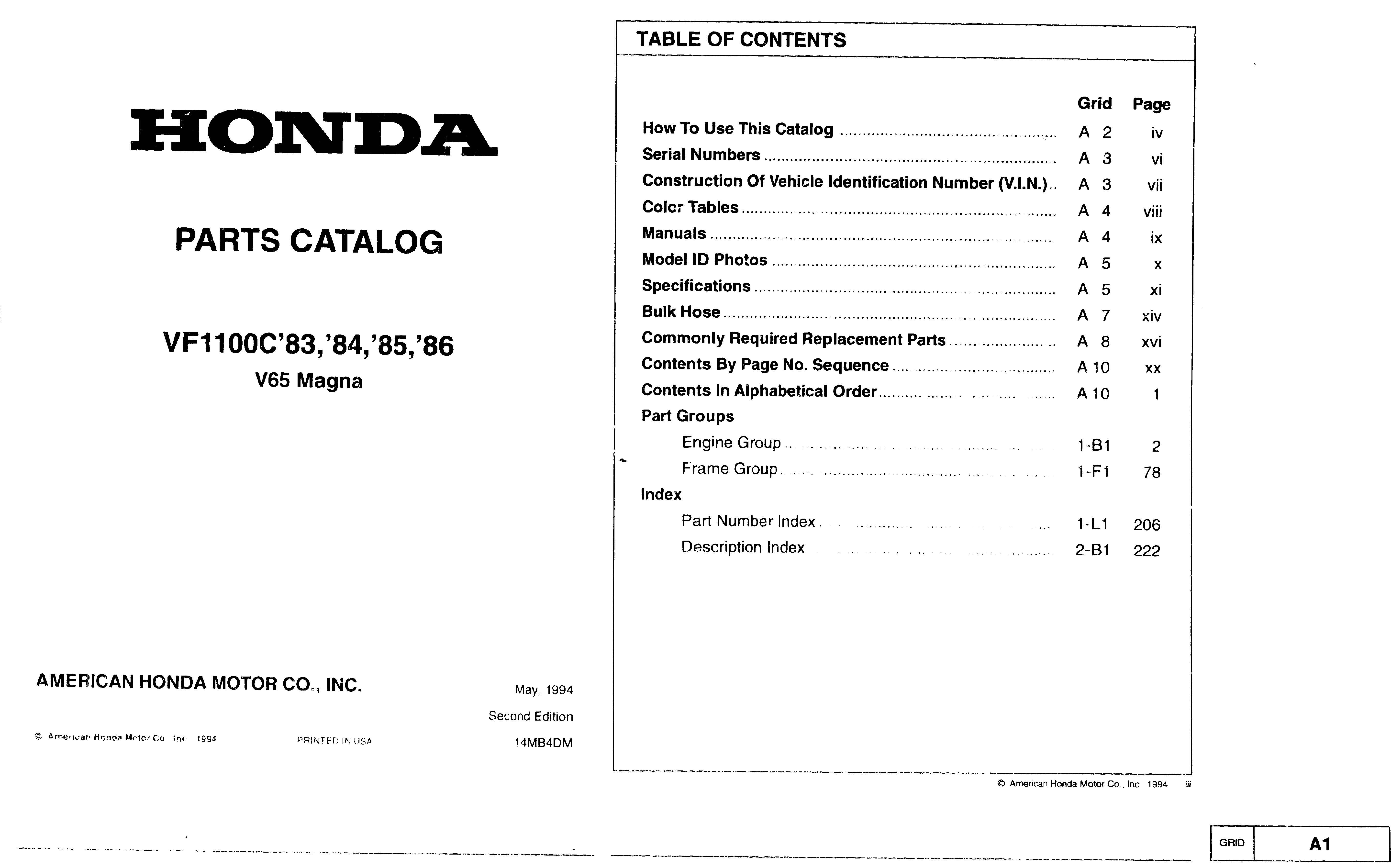 Parts list for Honda VF1000C (1983-1986)