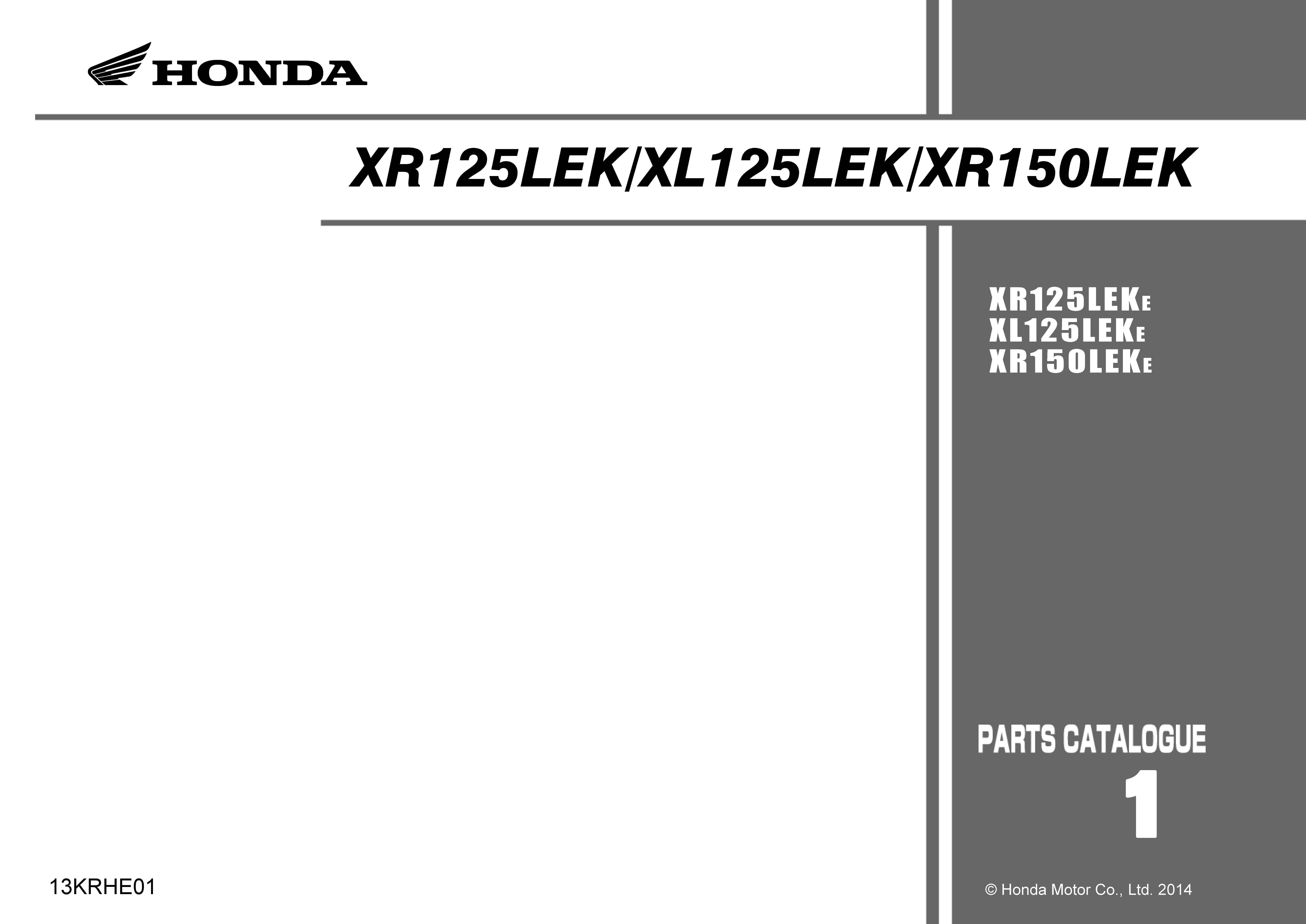 Parts list for Honda XL125LEK (2014)