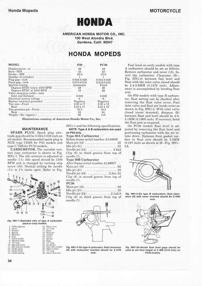 service manual for honda pc50 - 4-stroke net