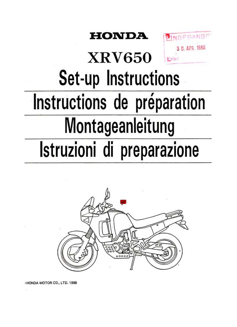 Setup manual for Honda XRV650 (1988)