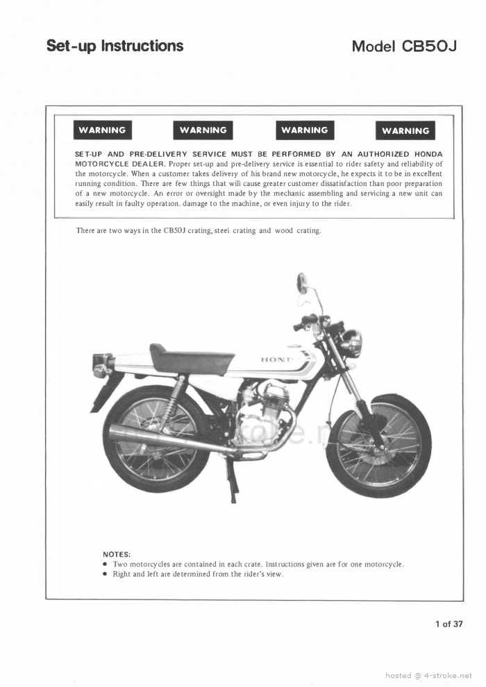Setup Manual for Honda CB50J