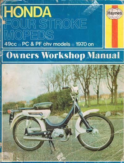 Workshop manual for Honda PC50 OHV (1970 onwards)