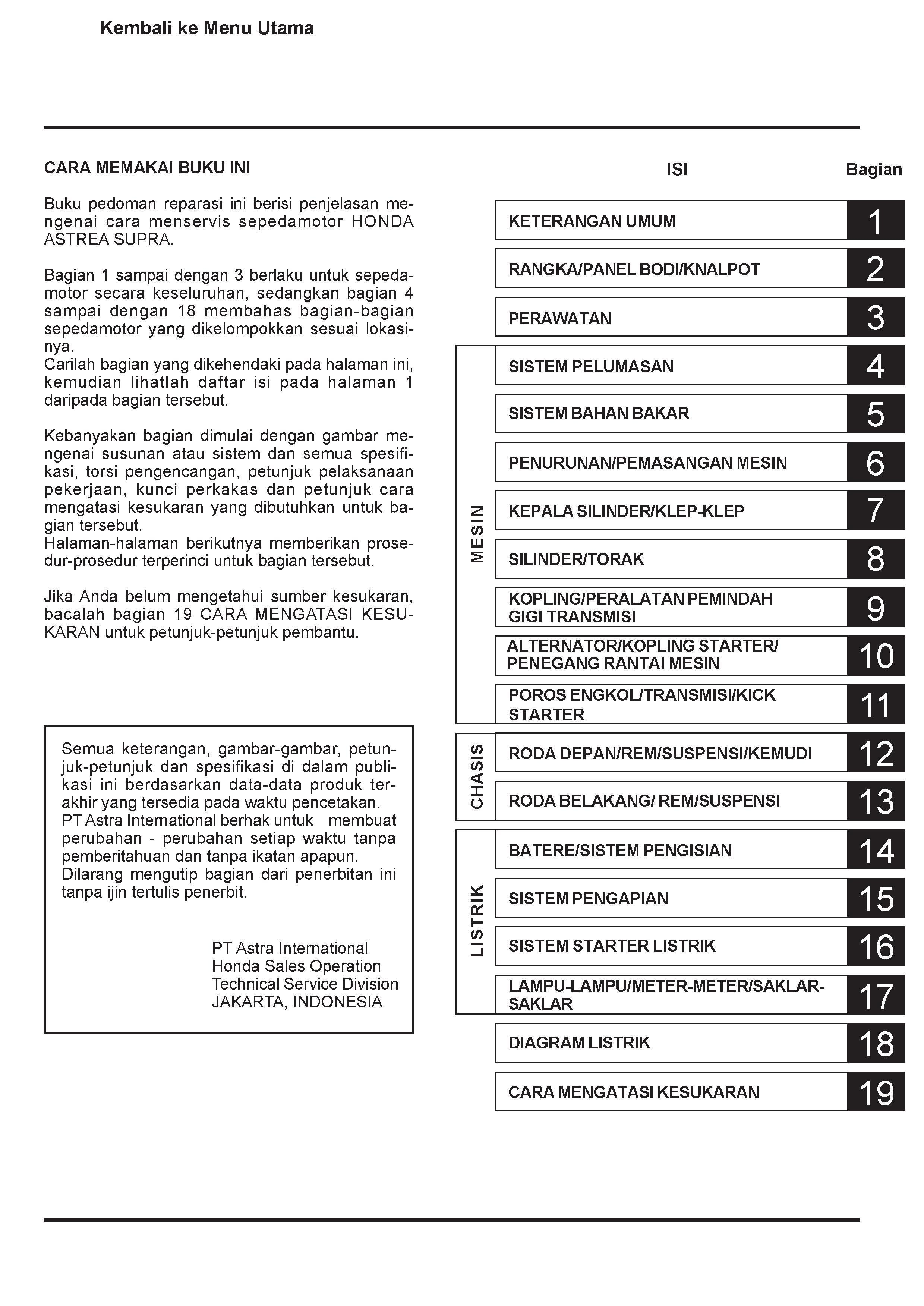 Workshop manual for Honda Astrea Supra (Indonesian)