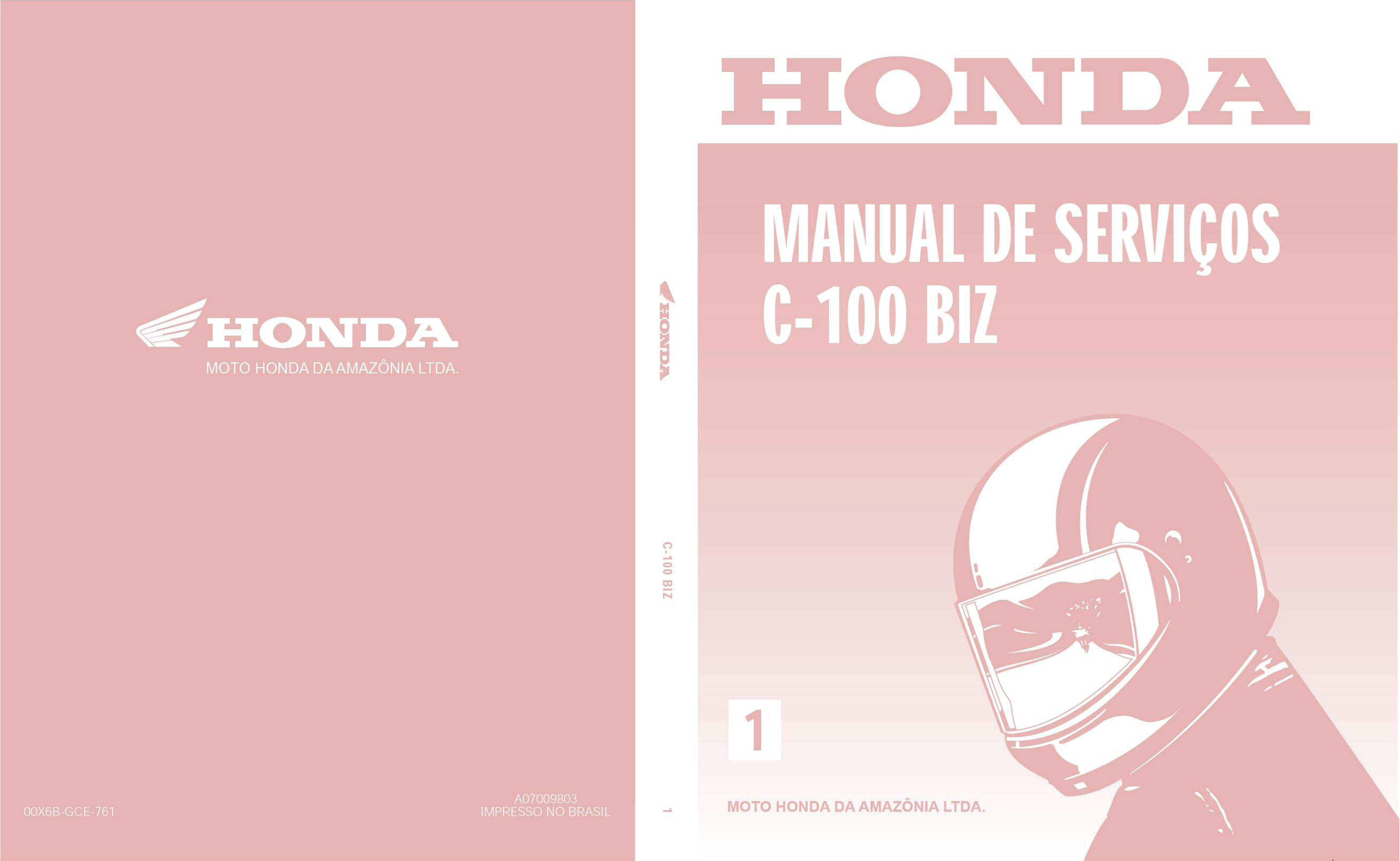 Workshop manual for Honda C100 BIZ (Portuguese)