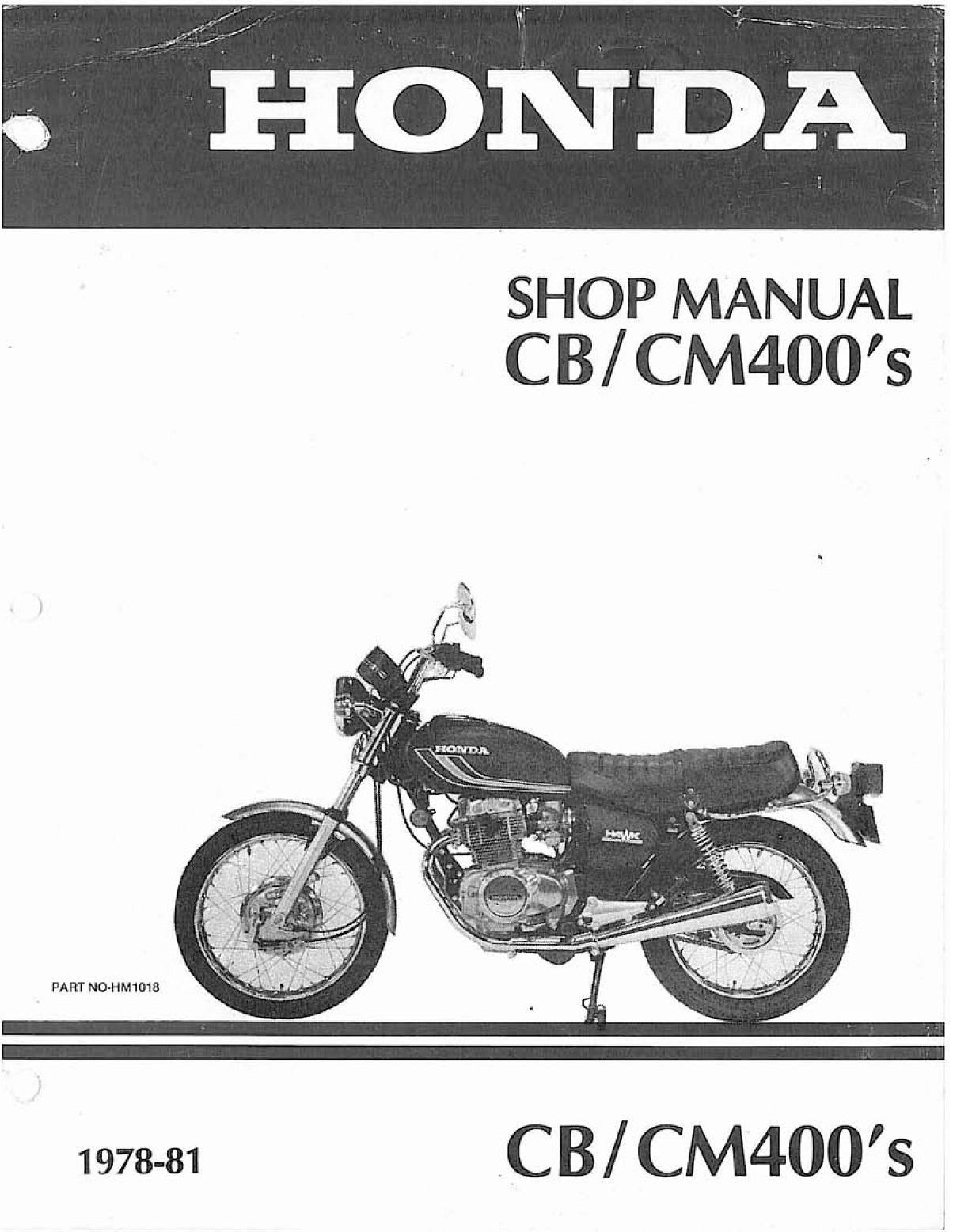 Workshop Manual for Honda CB400 (1978-1981)