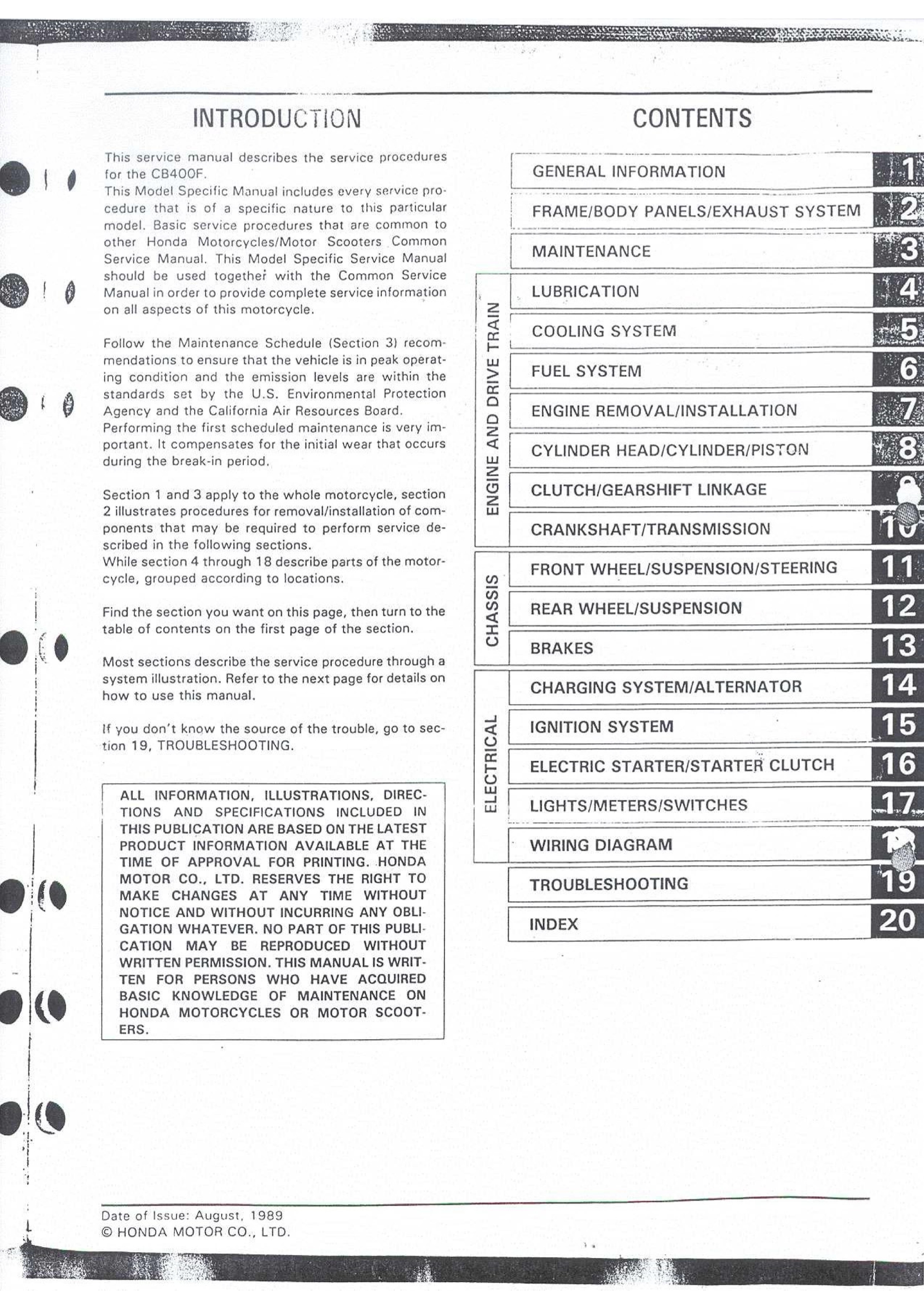 Workshop Manual for Honda CB400F / CB1 (august 1989)