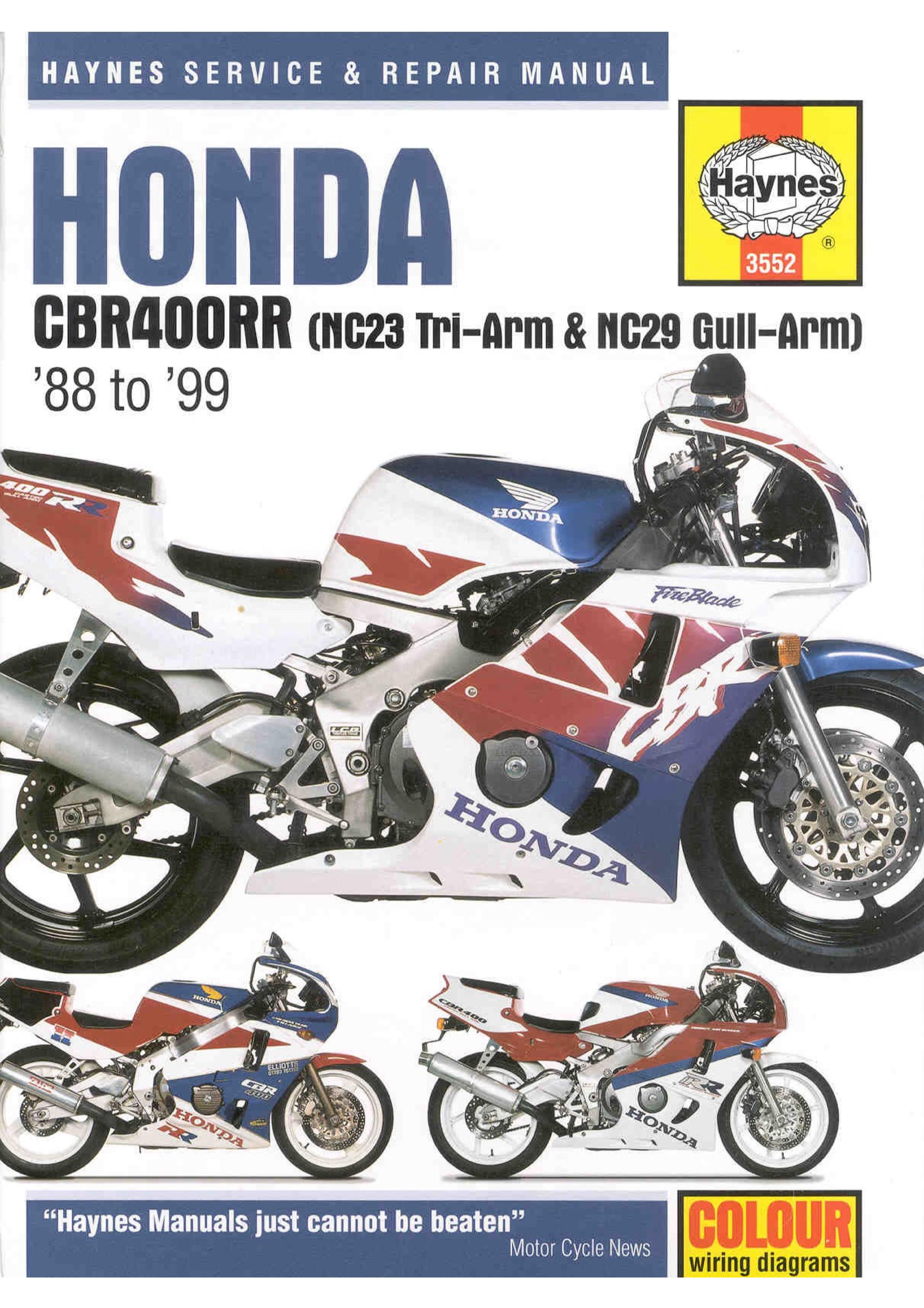 Workshop Manual for Honda CBR400 (1988-1999)
