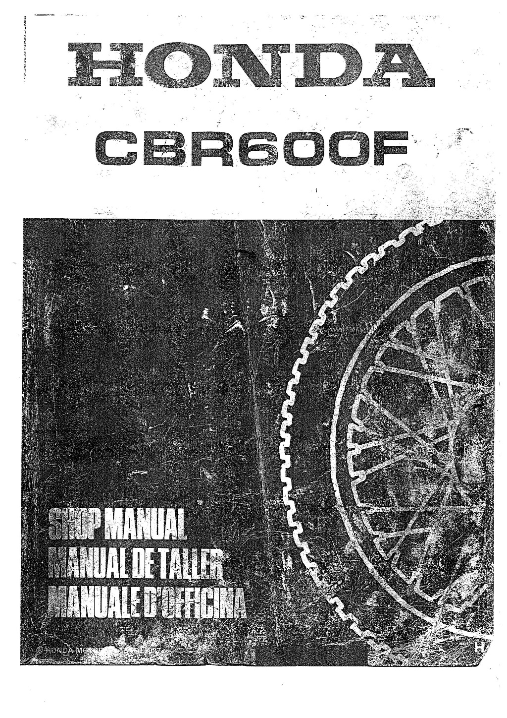Workshop Manual for Honda CBR600F (1987-1990) (Multi-lingual)