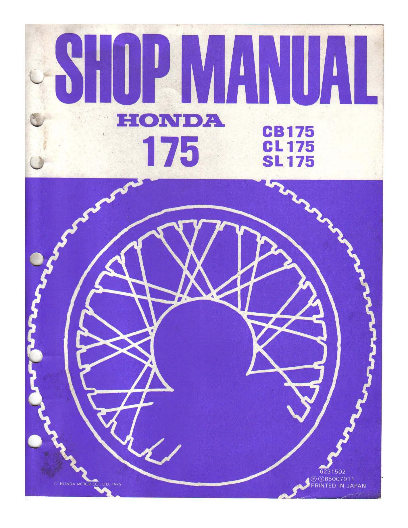 Workshop manual for Honda CL175 (1975)