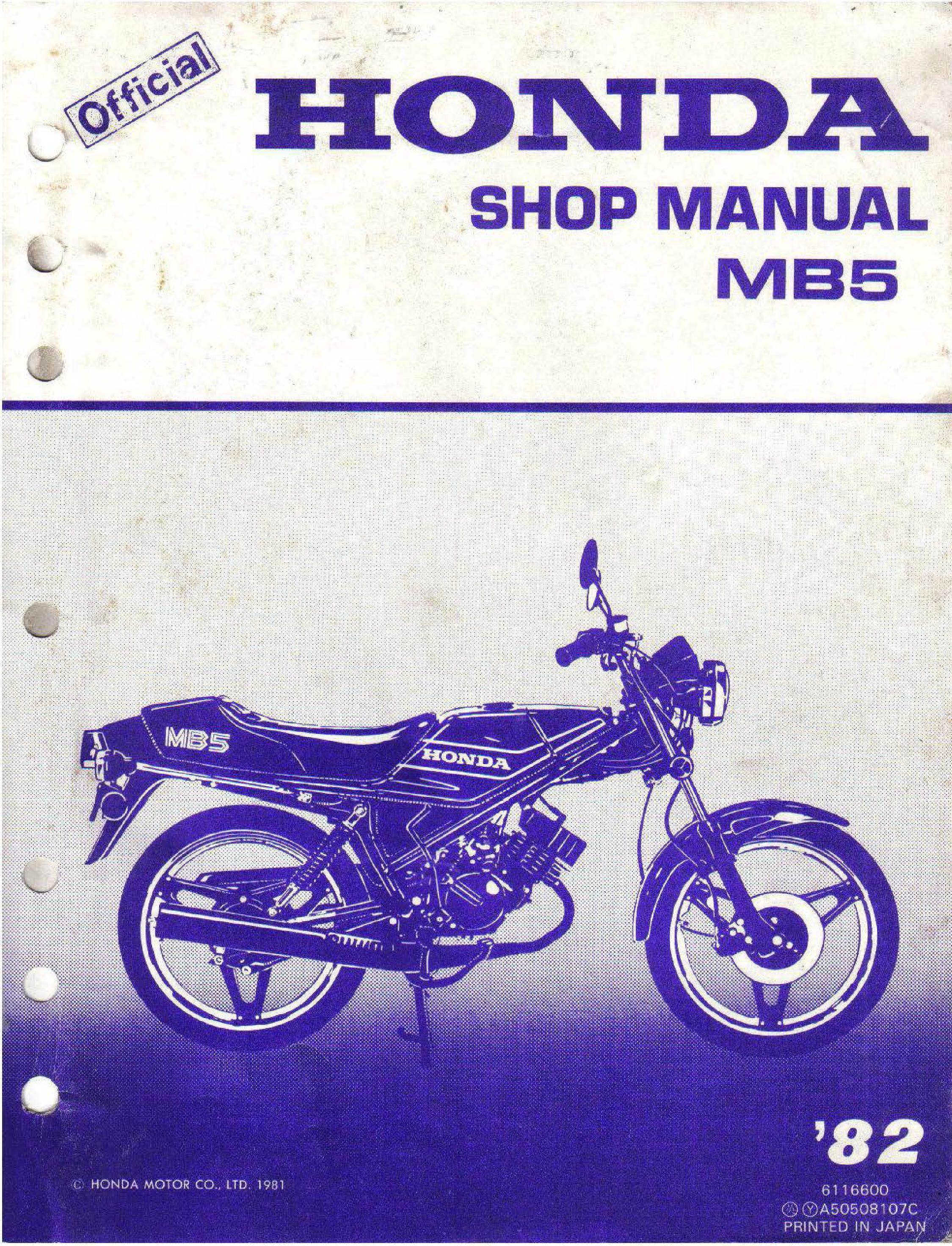 Workshop manual for Honda MB50 (1982)