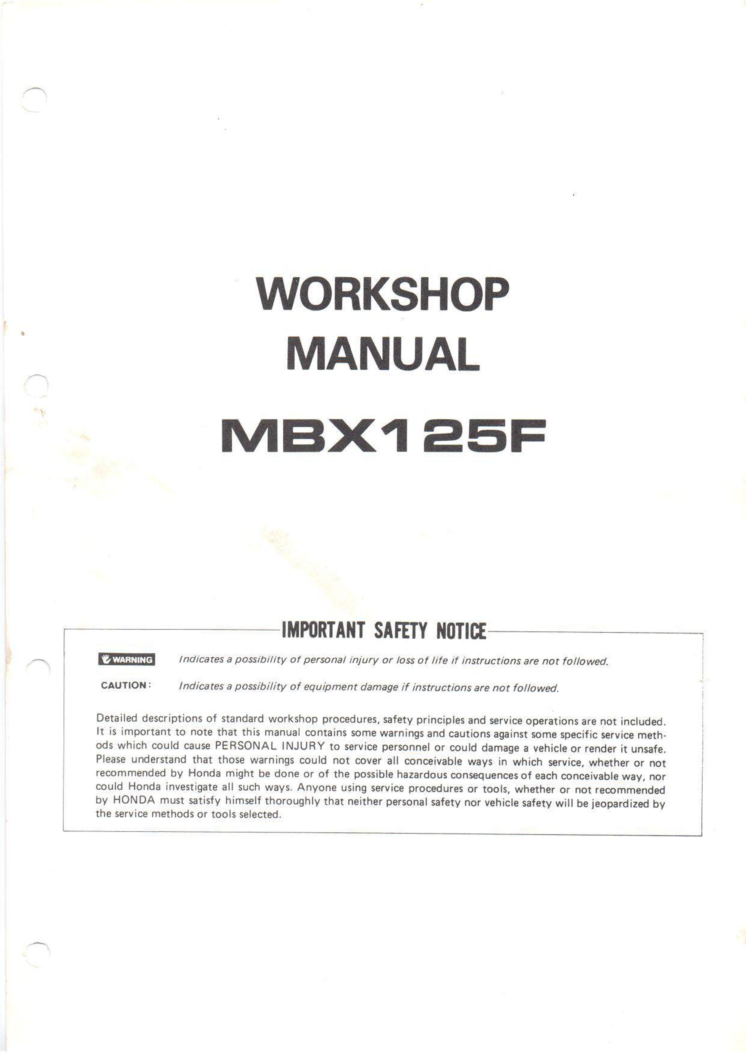 Workshop manual for Honda MBX125F