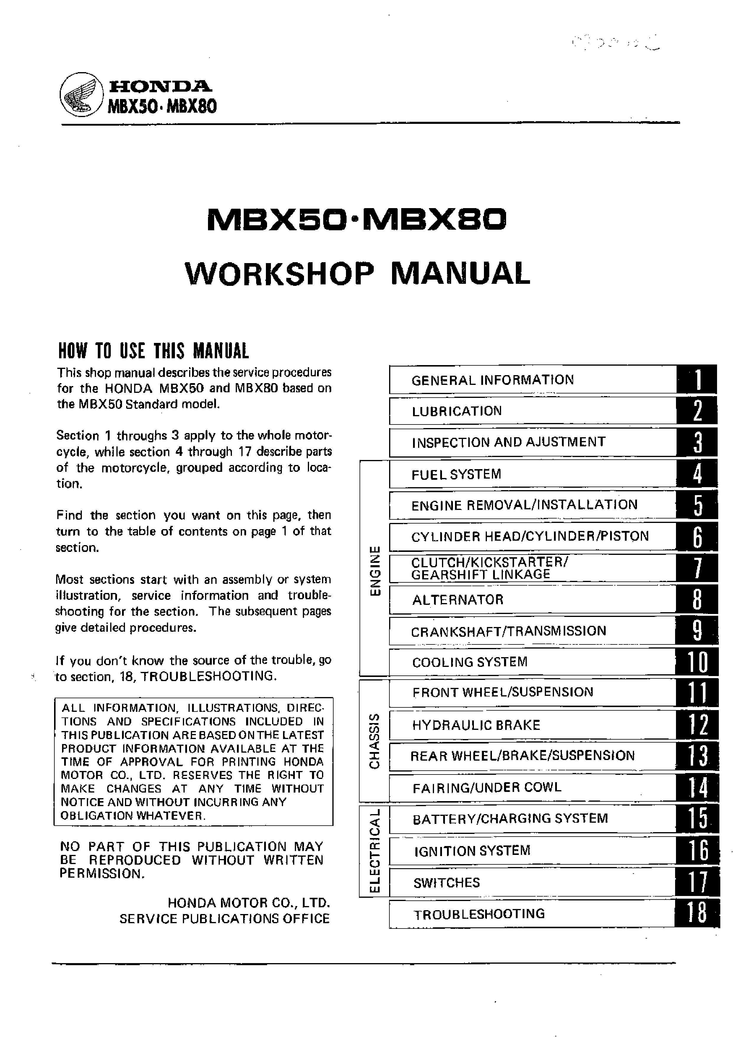 Workshop manual for Honda MBX50