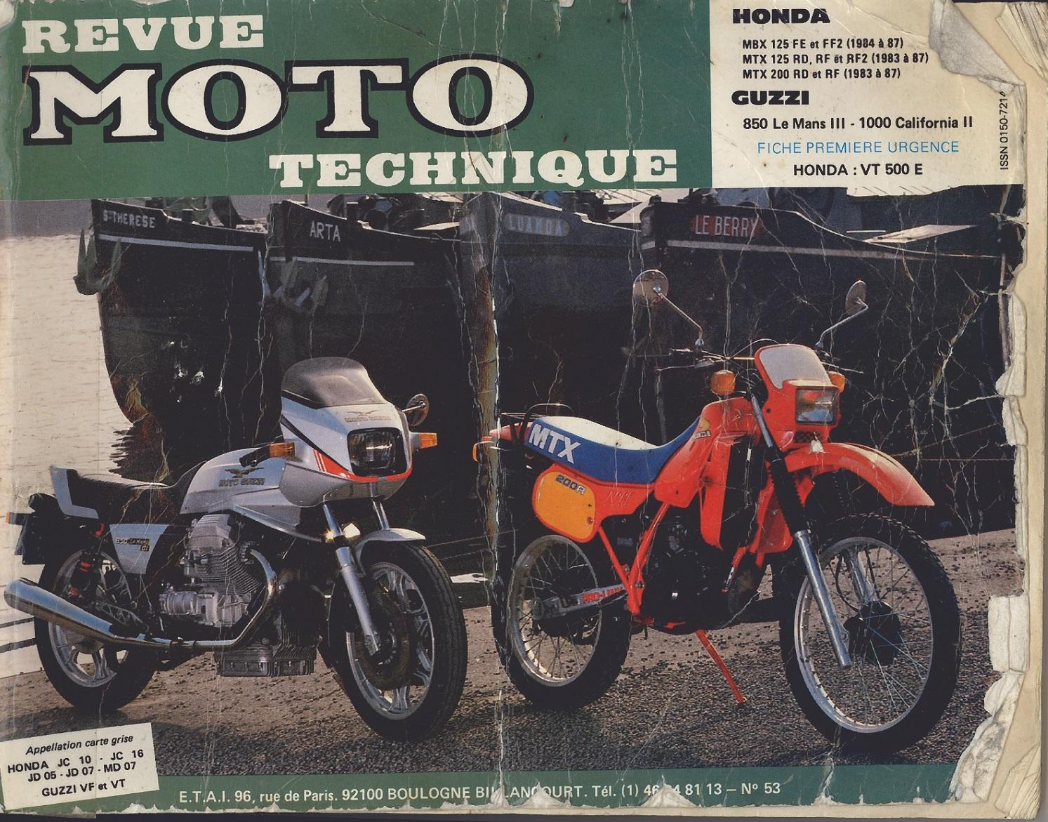 Workshop Manual for Honda MTX125RF2 (1983-1987)