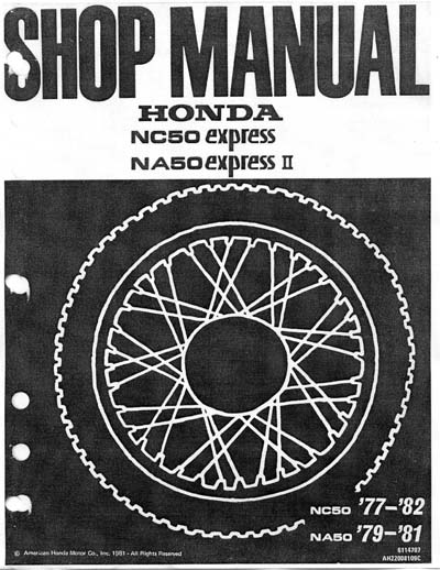 Workshop Manual for Honda NA50 (1979-1981)