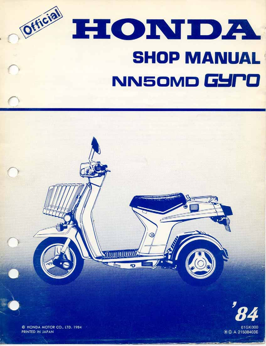Workshop manual for Honda NN50MD Gyro (1984)