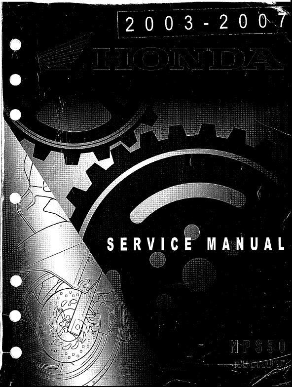 Workshop manual for Honda NPS50 Ruckus (2003-2007)