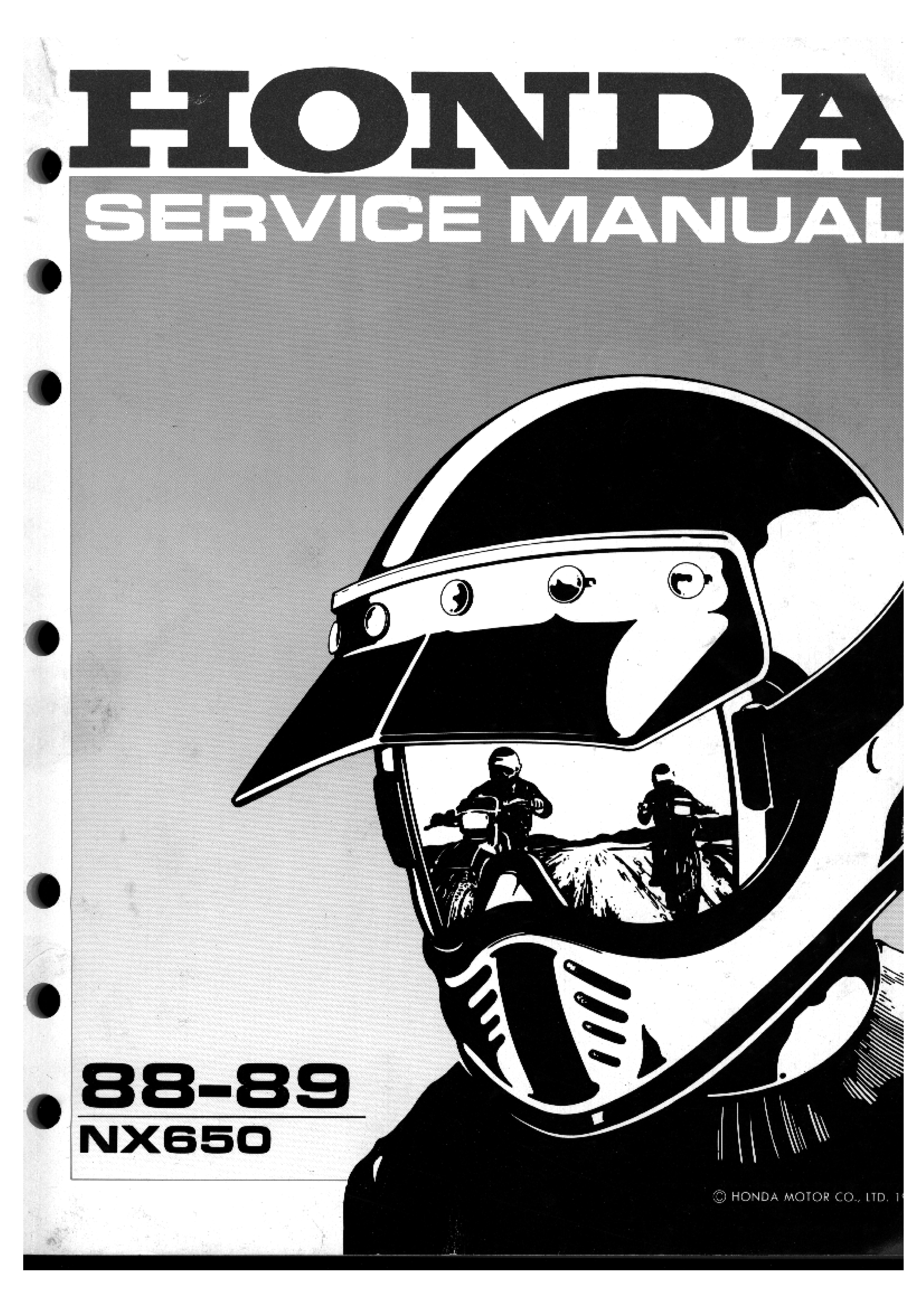 Workshop Manual for Honda NX650 (1988-1989)