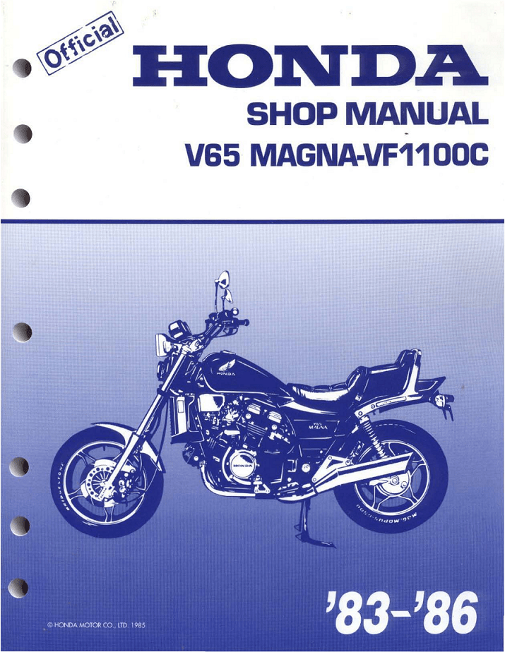Workshop manual for Honda VF1100C Magna (1983-1986)