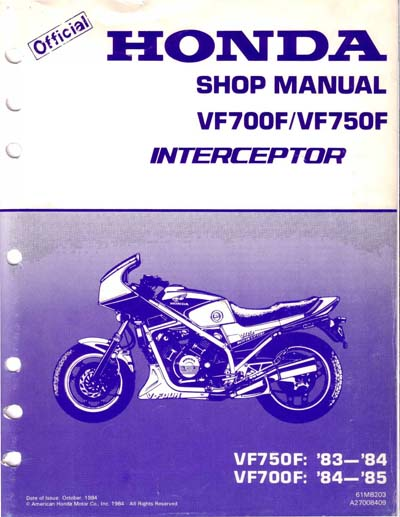 Workshop Manual for Honda VF750F Interceptor (1983-1984)