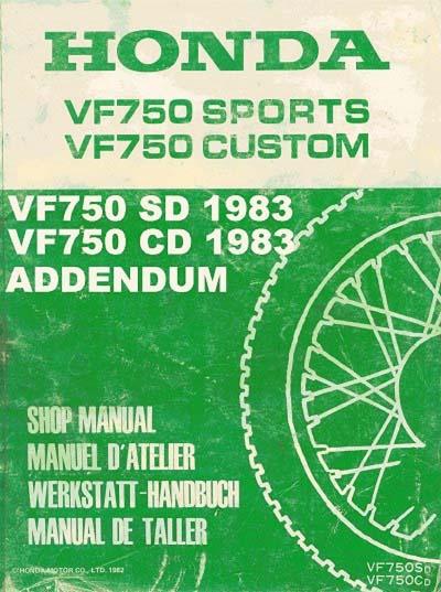Workshop Manual for Honda VF750SD (1982-1983) Addendum