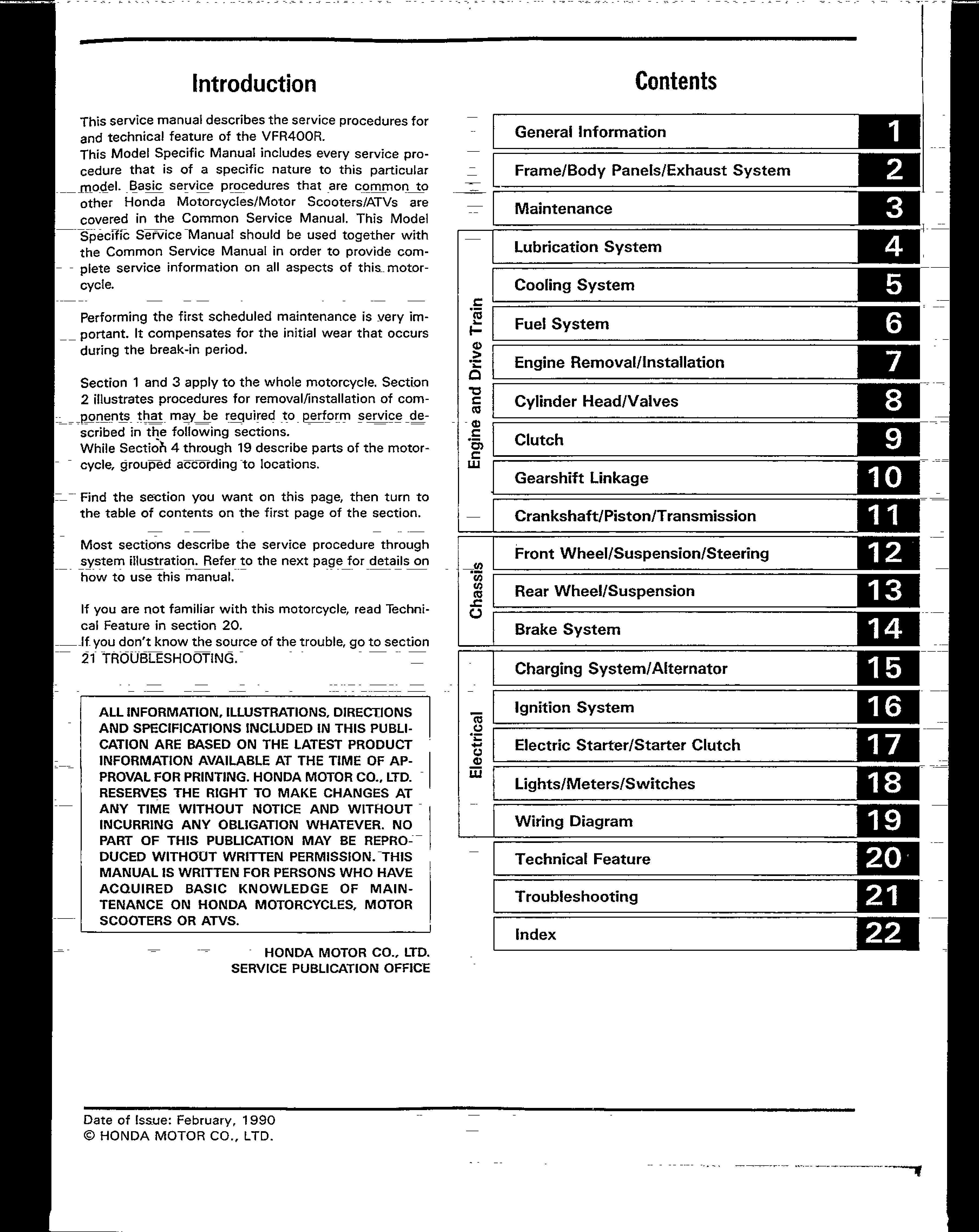 Workshop manual for Honda VFR400R (1990)