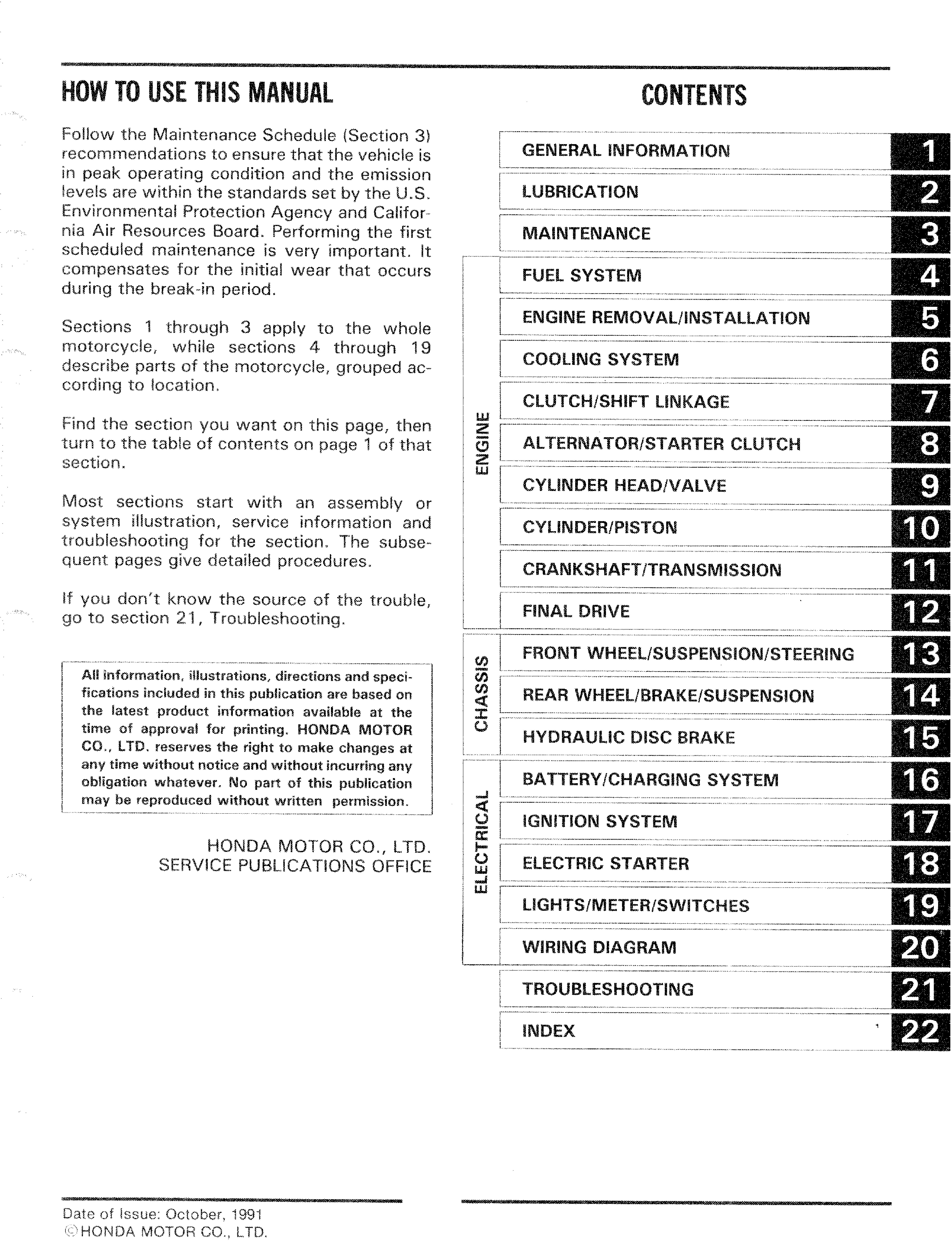 Workshop Manual for Honda VT1100C2 (1998)